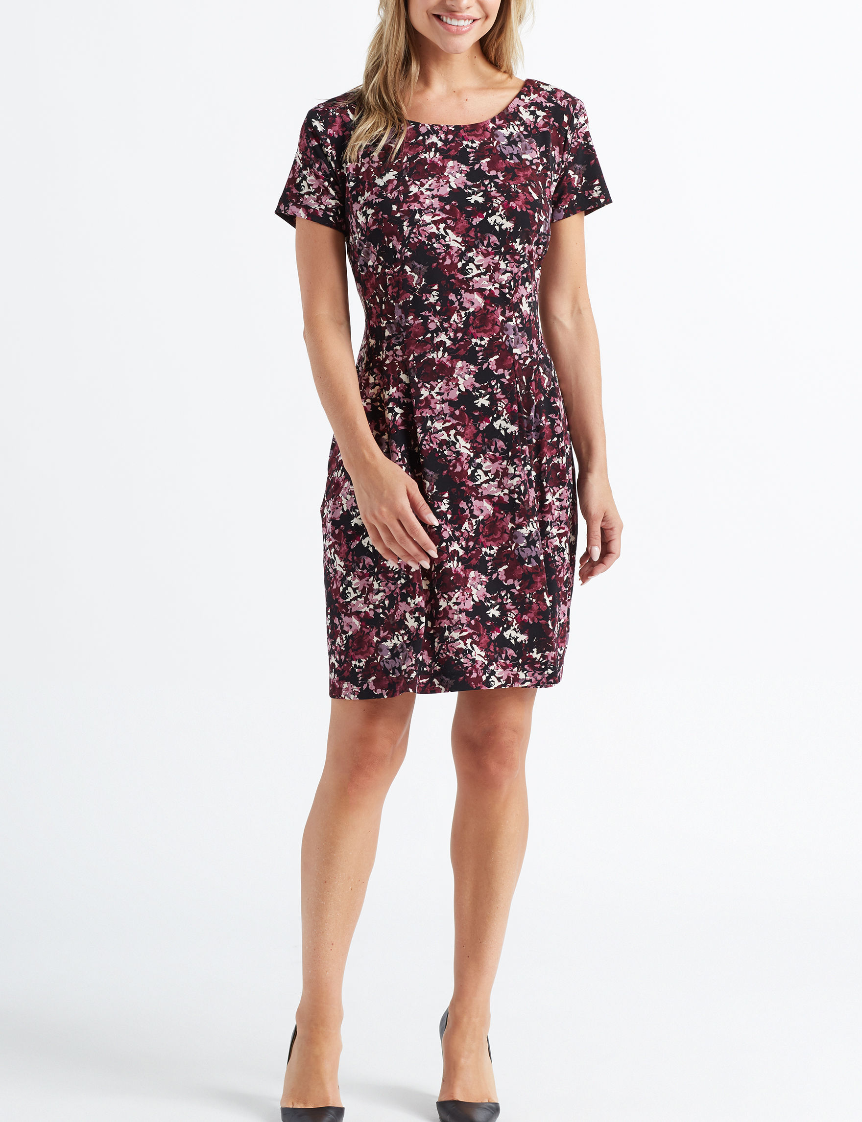 Connected Wine Floral Everyday & Casual Sheath Dresses