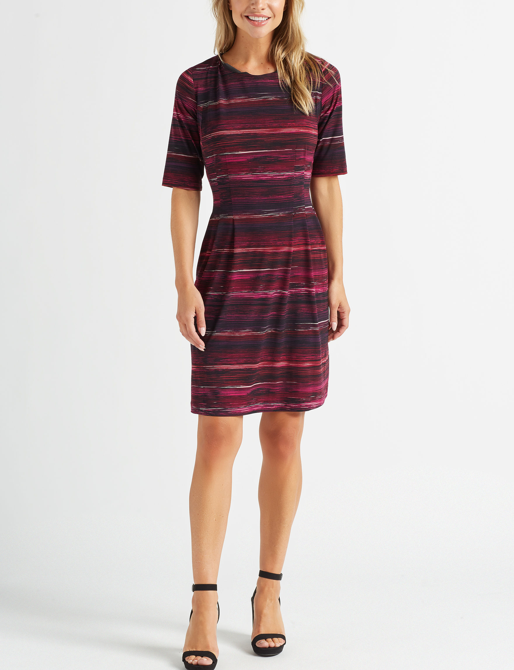 Connected Purple Stripe Everyday & Casual A-line Dresses