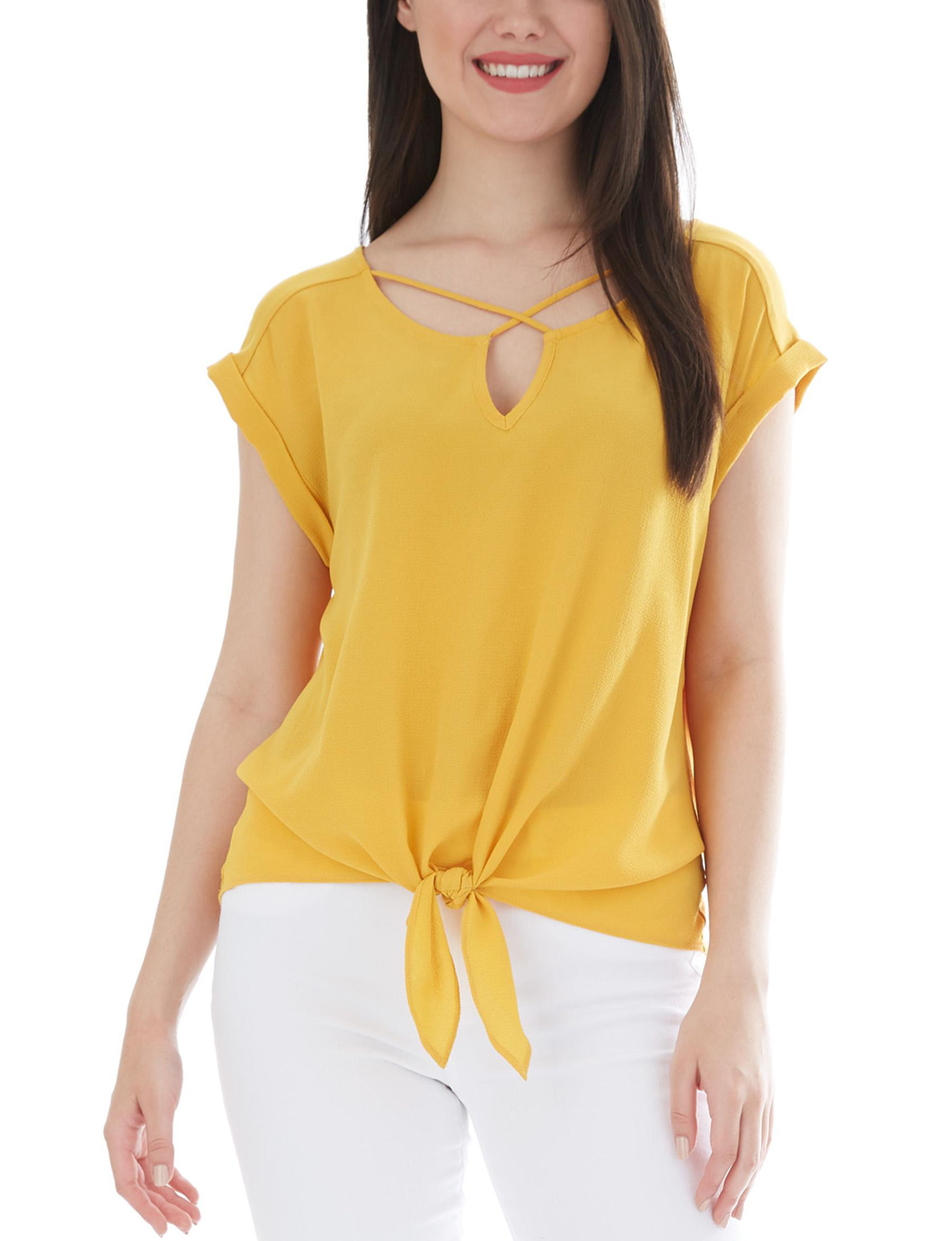 A. Byer Yellow Shirts & Blouses