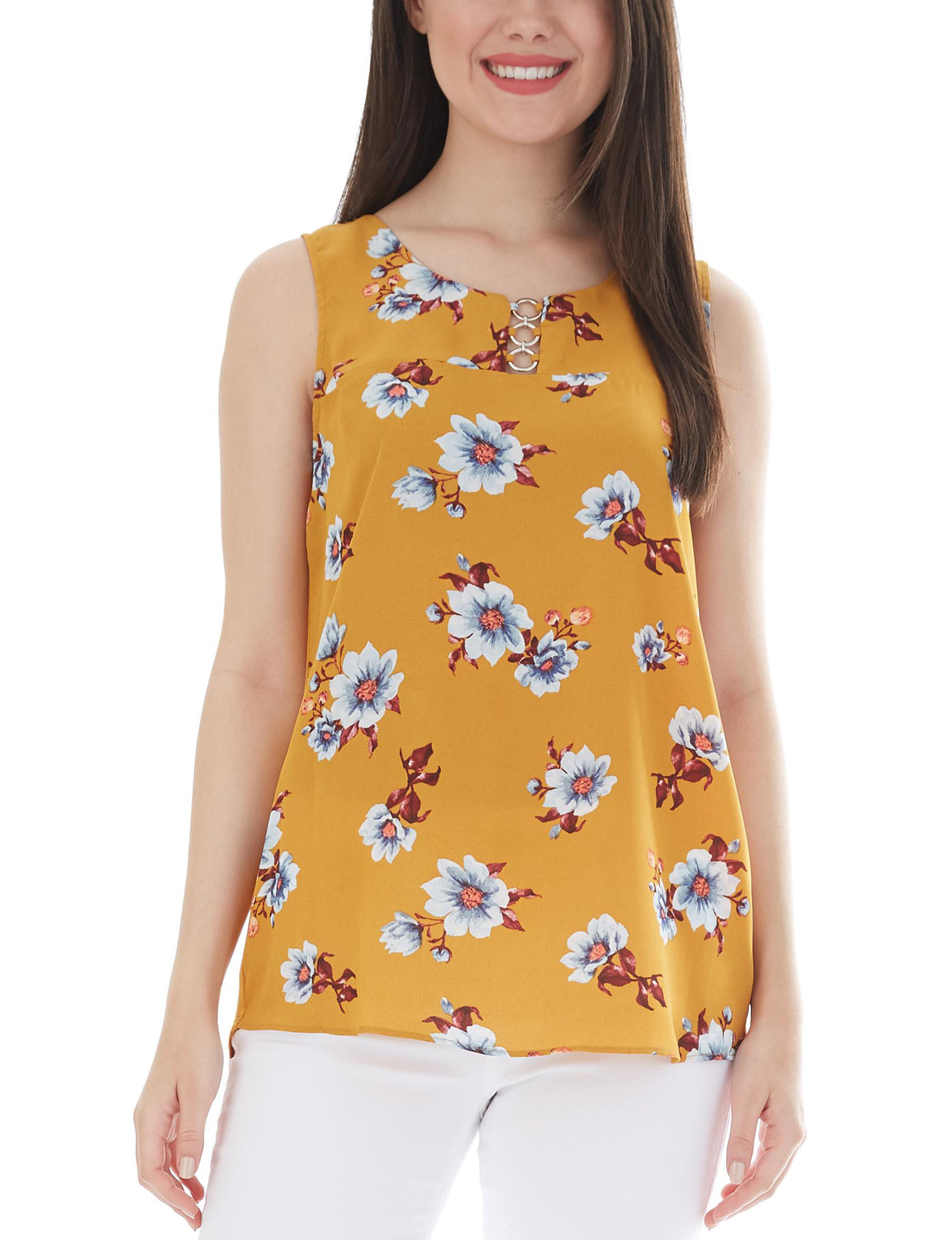 A. Byer Yellow Floral Shirts & Blouses Tees & Tanks