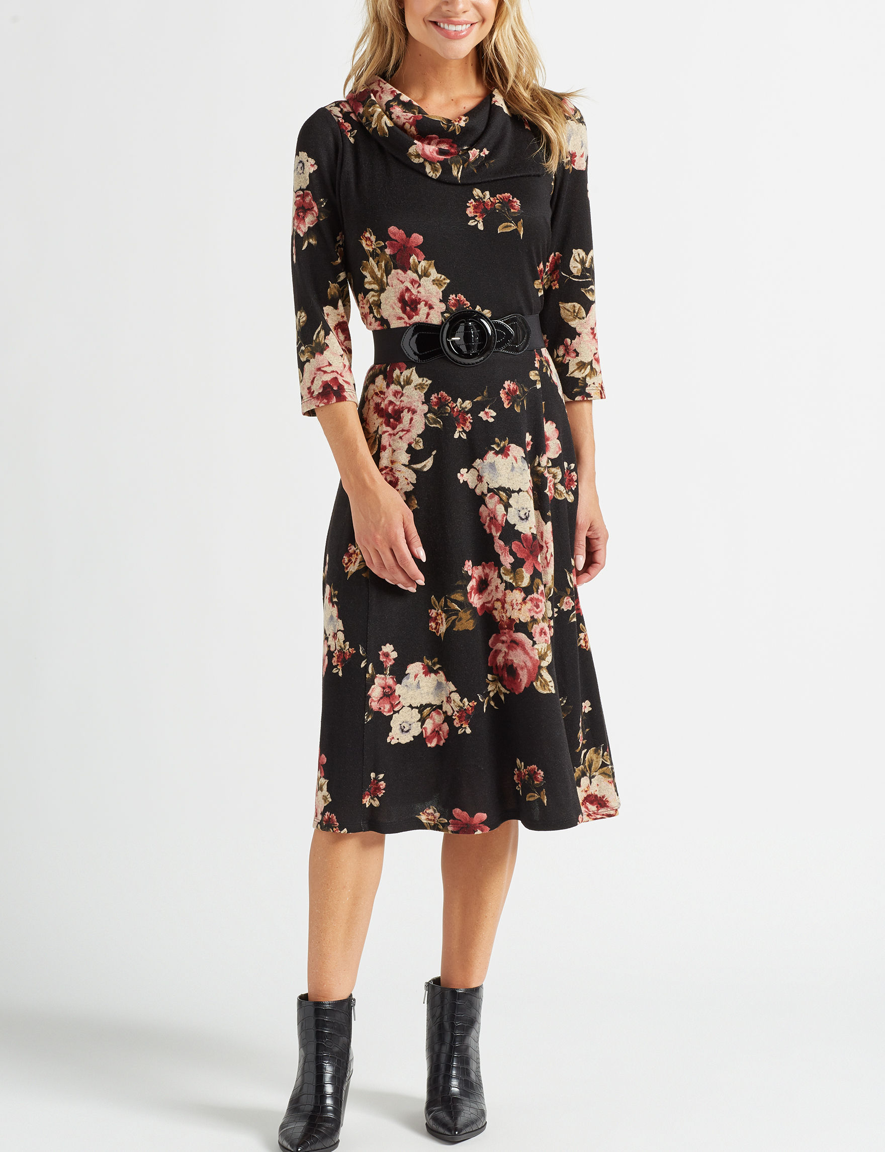 Robbie Bee Black Floral Everyday & Casual Sweater Dresses