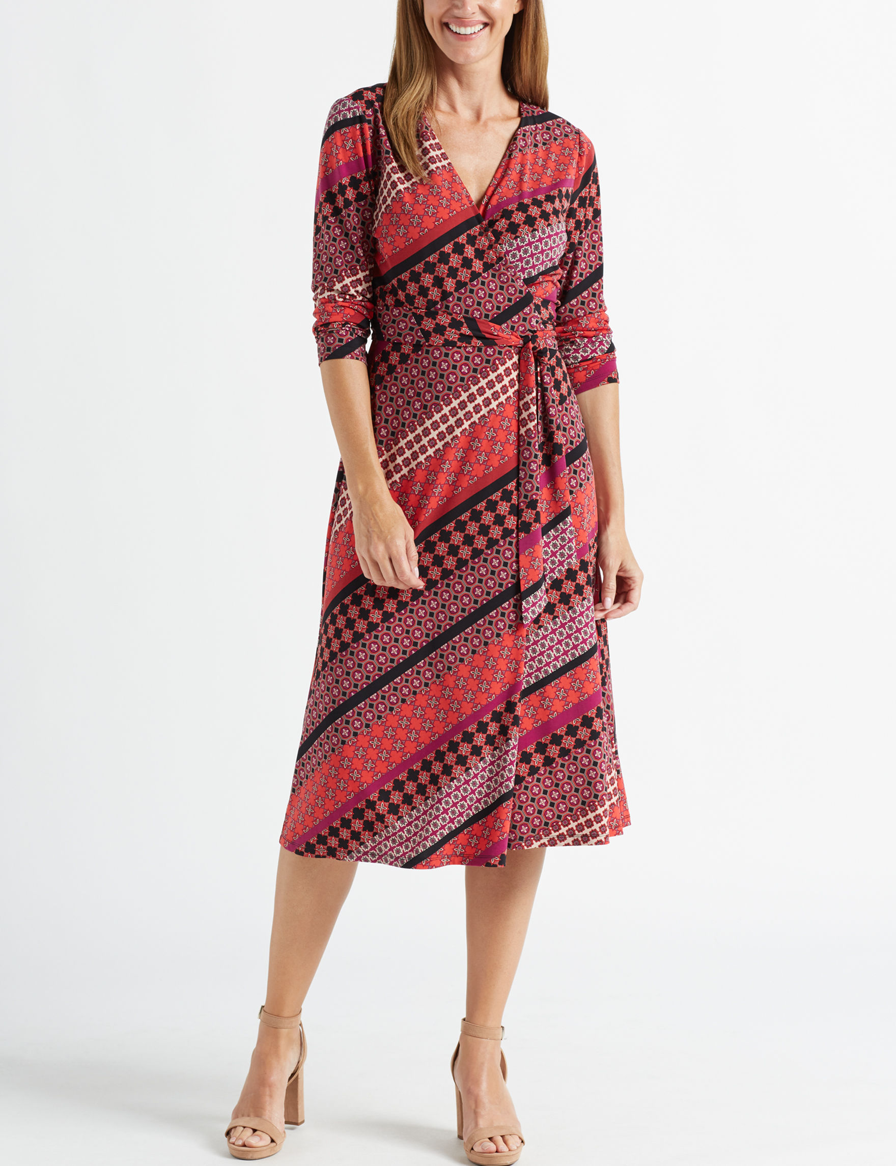 London Times Red / Black Everyday & Casual A-line Dresses