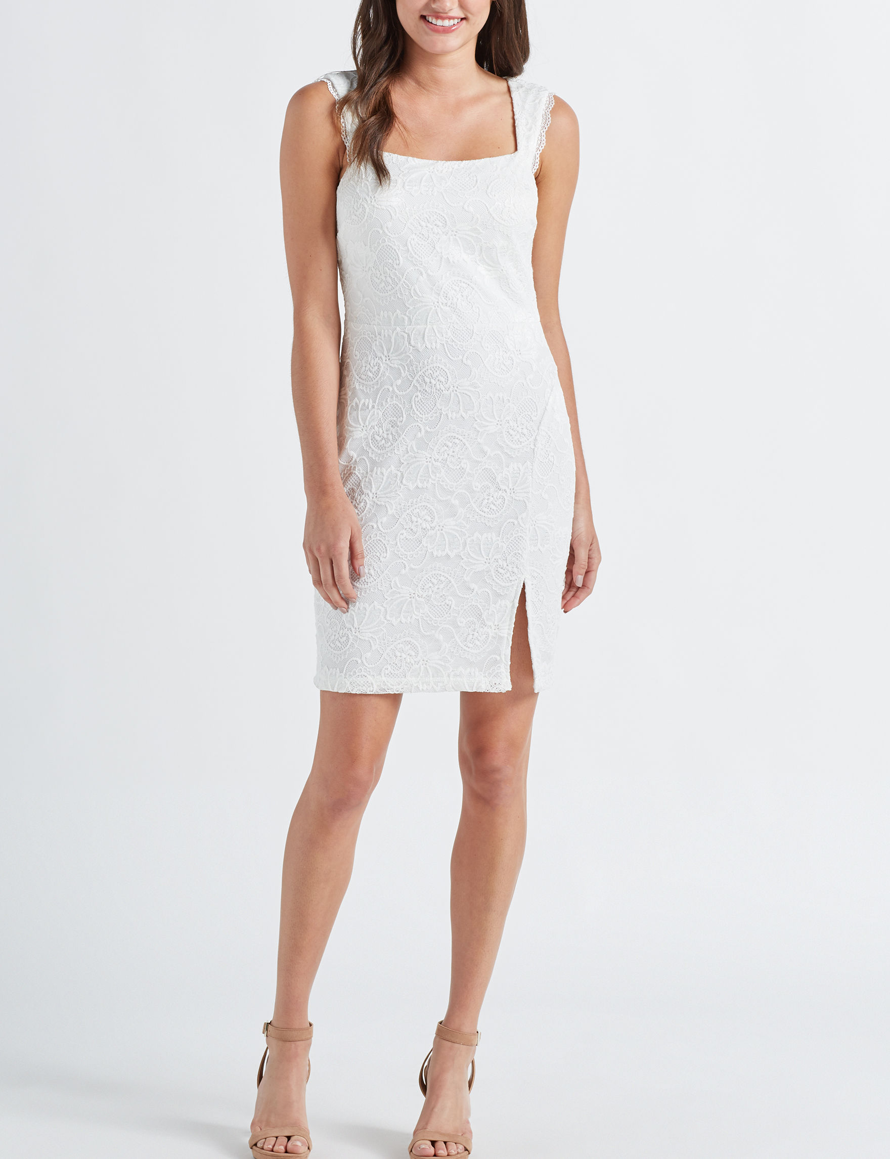 Sequin Hearts White Everyday & Casual Bodycon Dresses