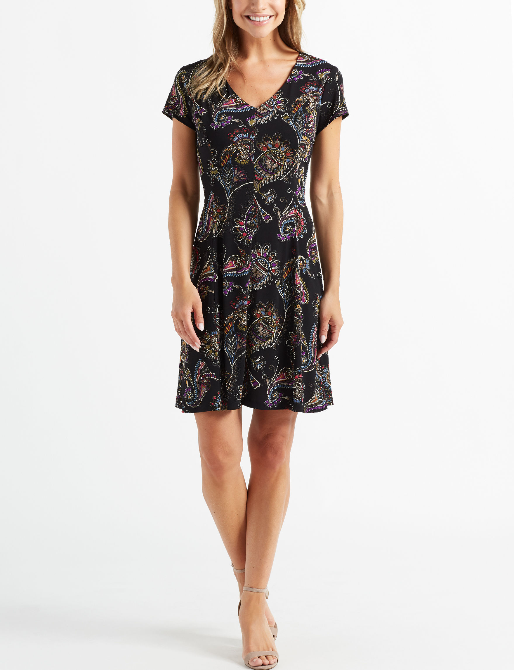Connected Black Fit & Flare Dresses