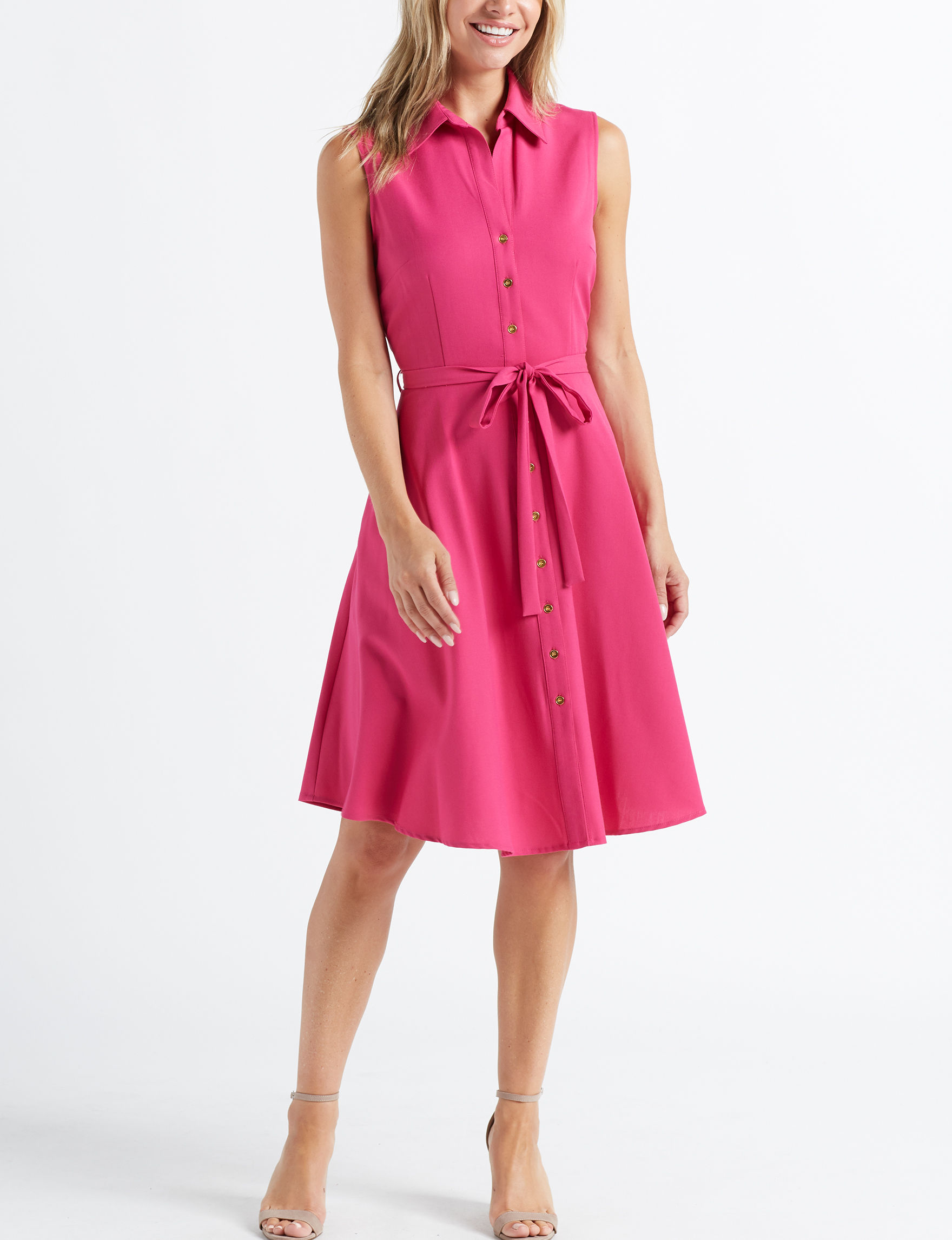 Sharagano Pink Evening & Formal Everyday & Casual Shirt Dresses