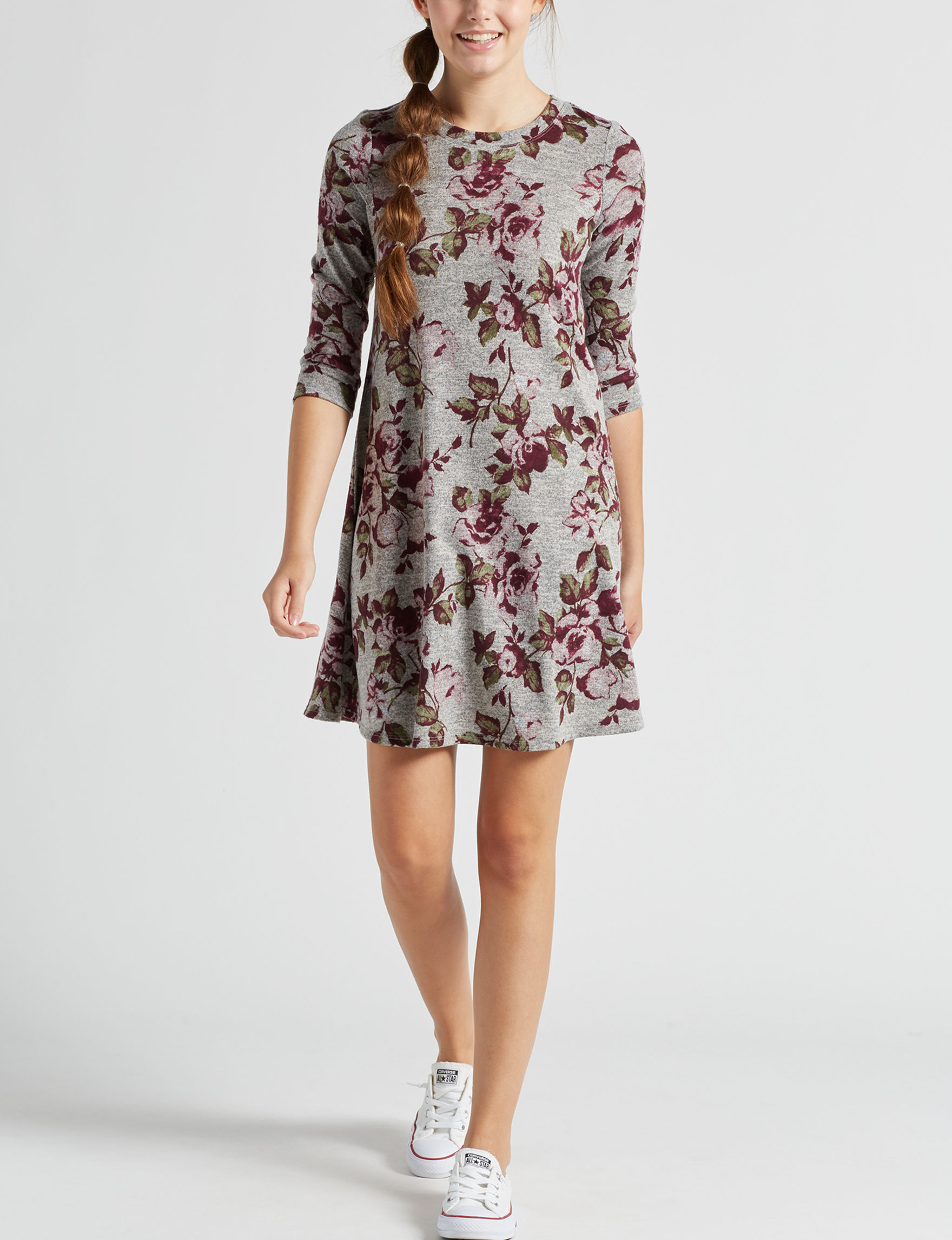 A. Byer Grey Floral Everyday & Casual A-line Dresses