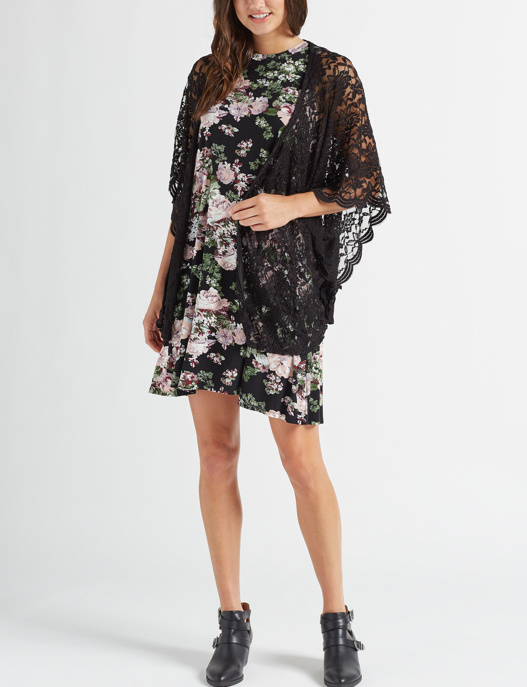Wishful Park Black Floral Everyday & Casual