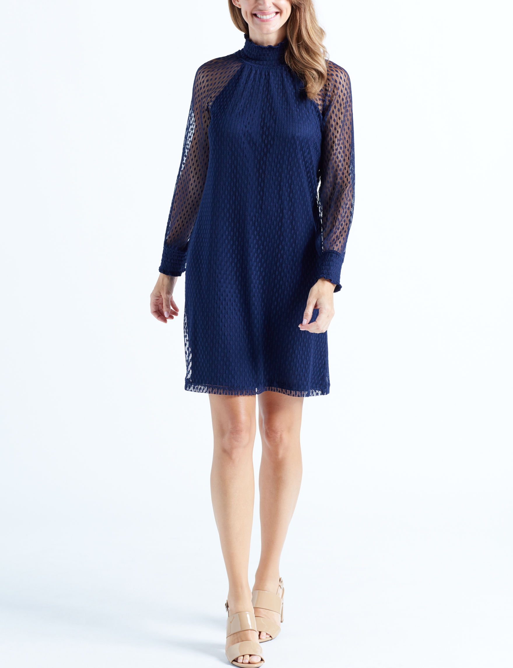 Nina Leonard Navy Evening & Formal Everyday & Casual Sheath Dresses