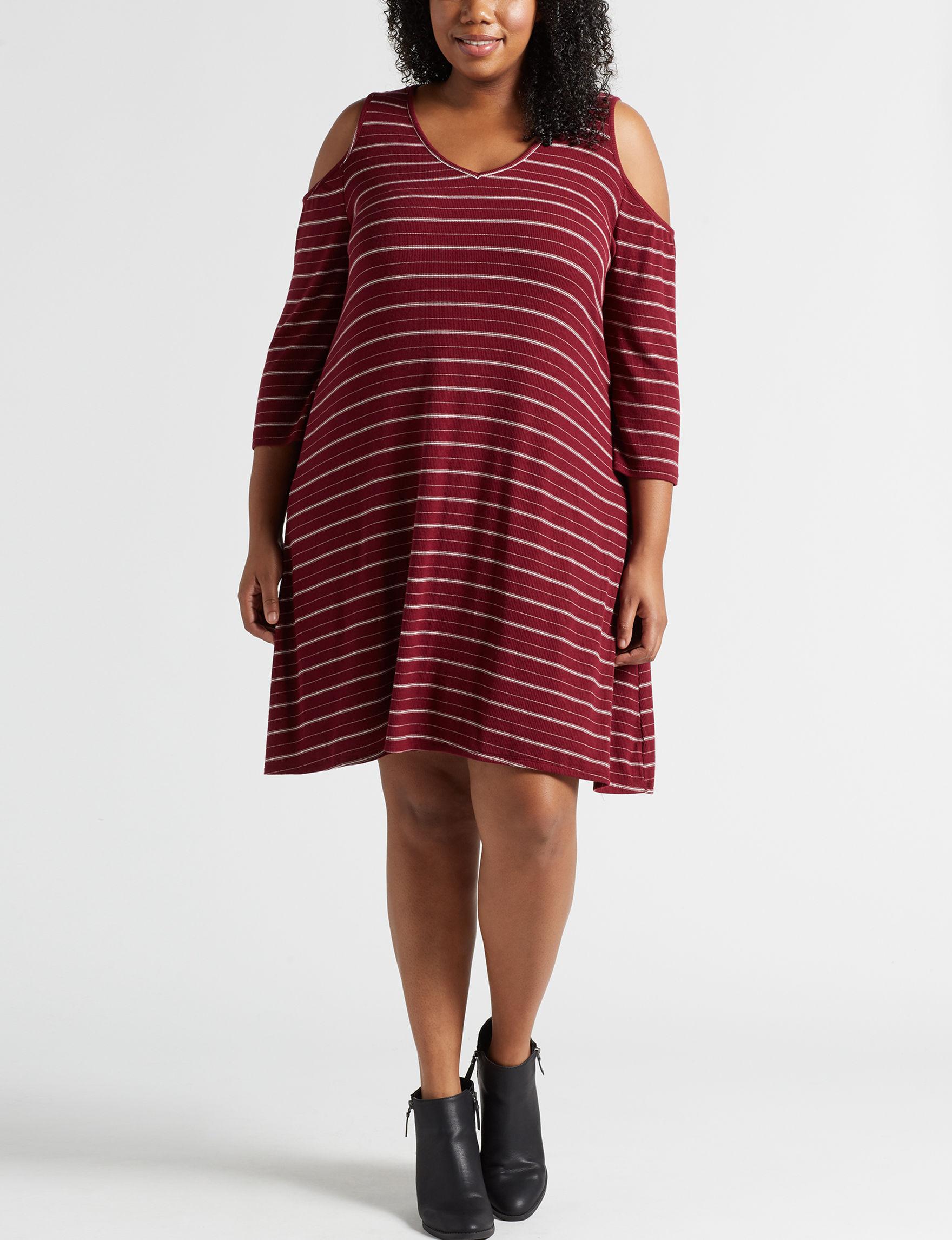 Wishful Park Wine Stripe Everyday & Casual Shift Dresses