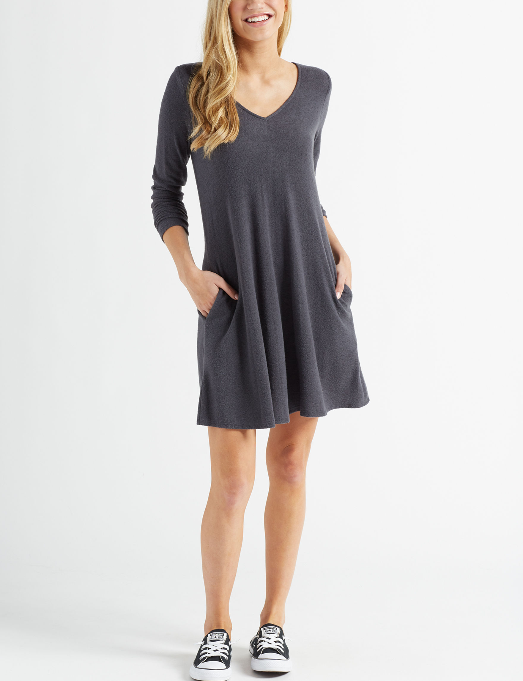 A. Byer Charcoal Everyday & Casual Shift Dresses