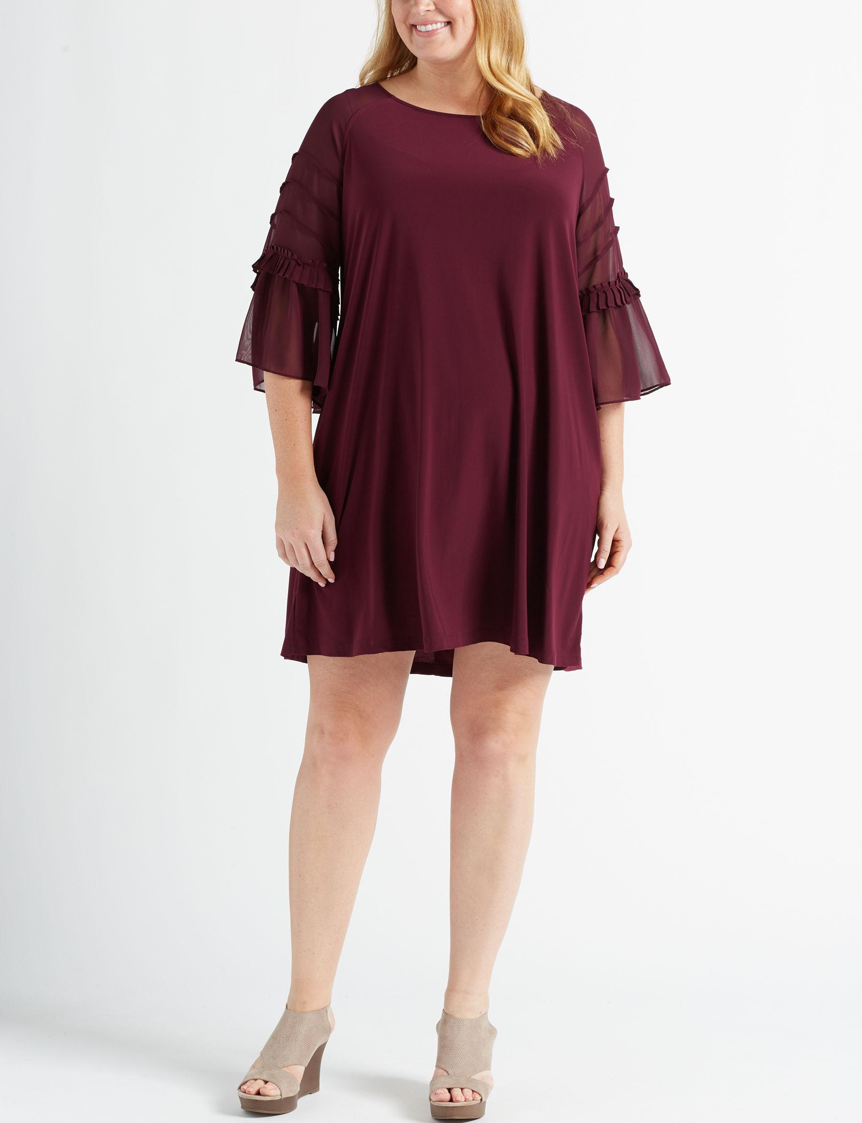 Nina Leonard Wine Everyday & Casual Shift Dresses