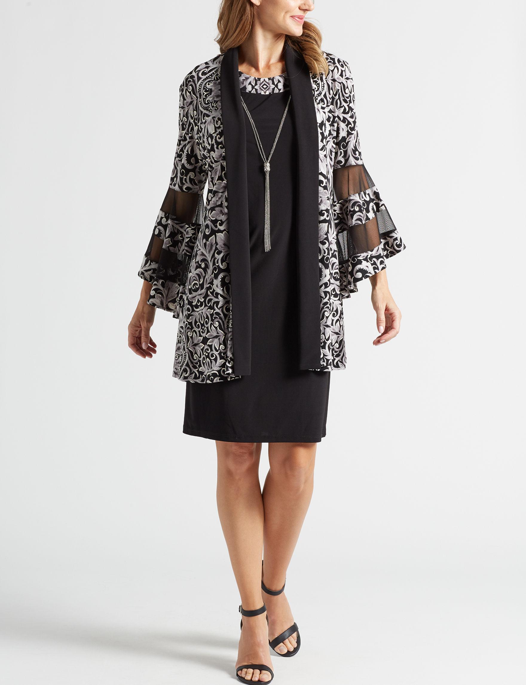 R & M Richards Black / Ivory Everyday & Casual Jacket Dresses