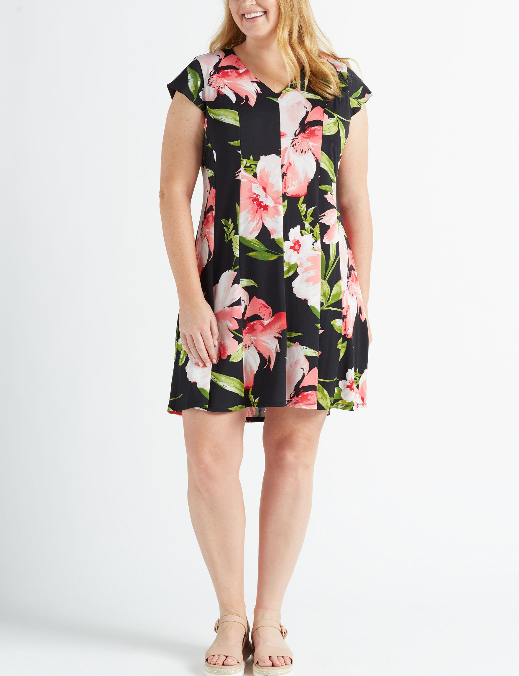 Violet B. Black Floral Evening & Formal A-line Dresses