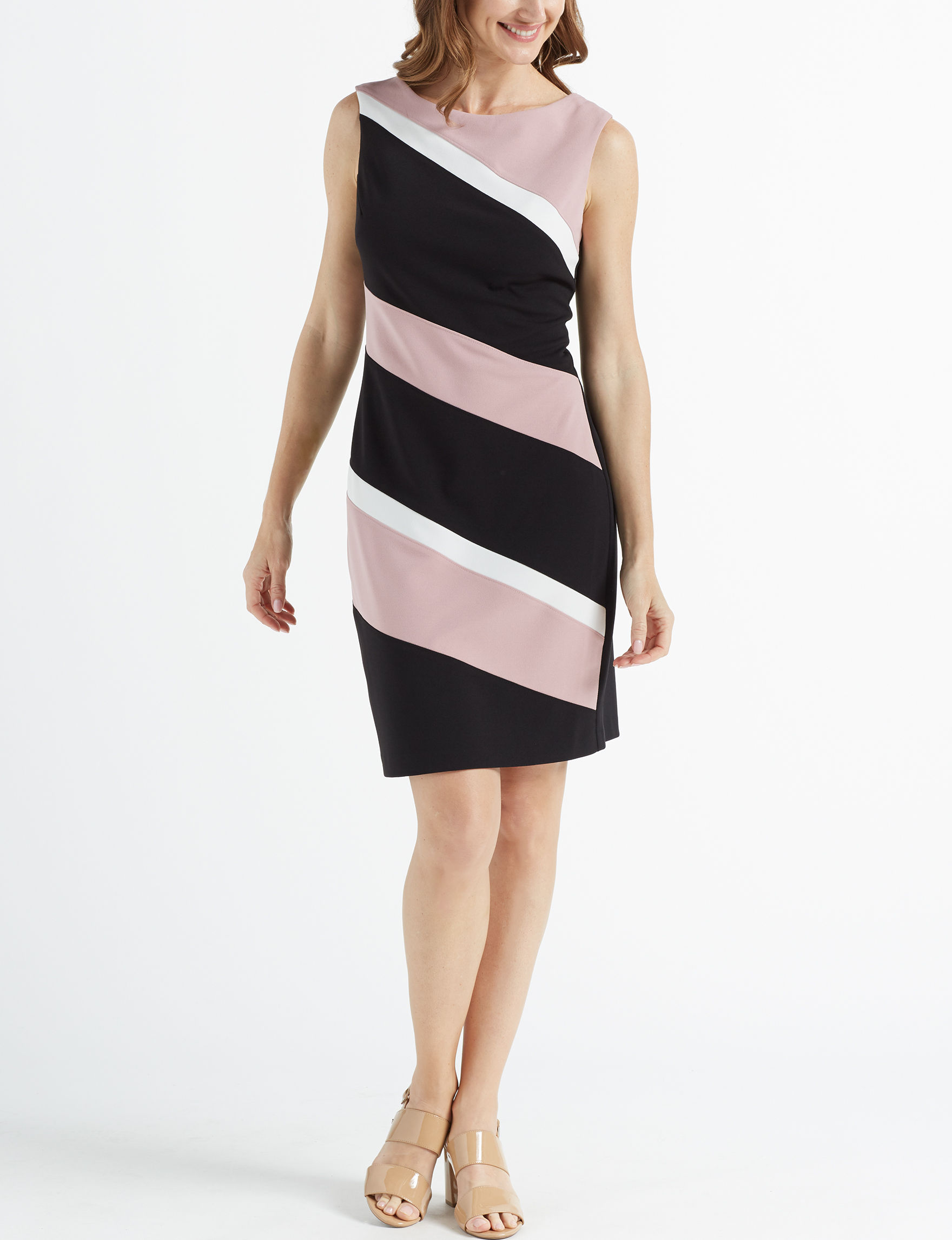 Connected Black / White / Pink Cocktail & Party Everyday & Casual Sheath Dresses