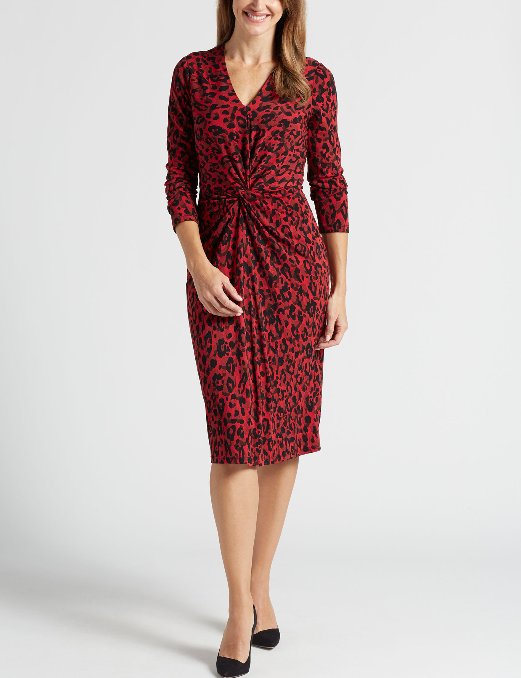 London Times Red / Black Evening & Formal Everyday & Casual Sheath Dresses