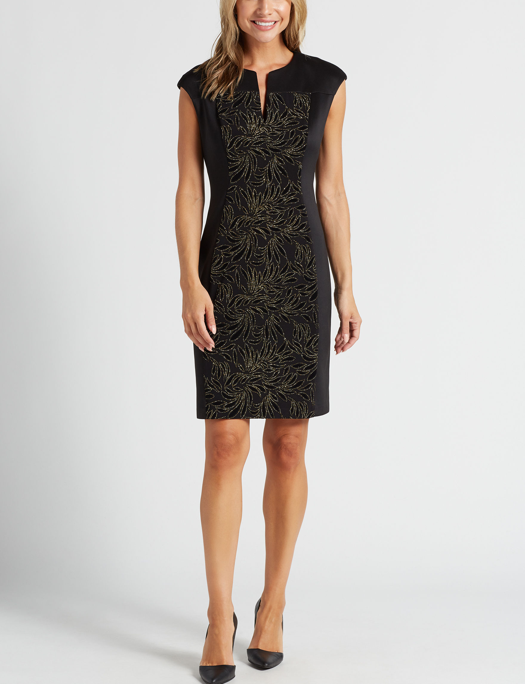 Connected Black / Gold Evening & Formal Sheath Dresses