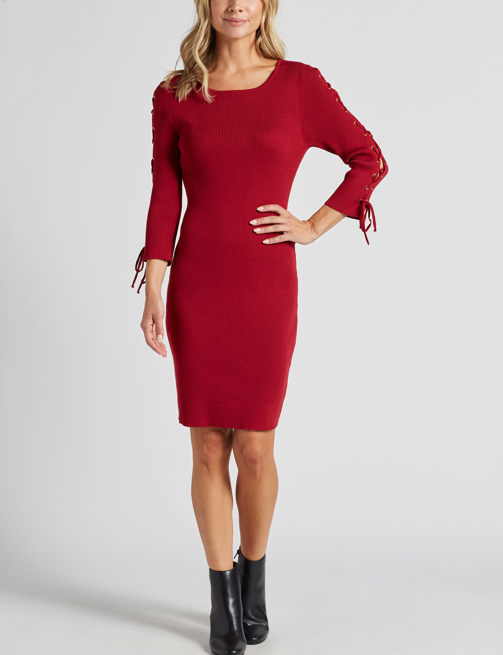 Nina Leonard Red Cocktail & Party Everyday & Casual Sheath Dresses
