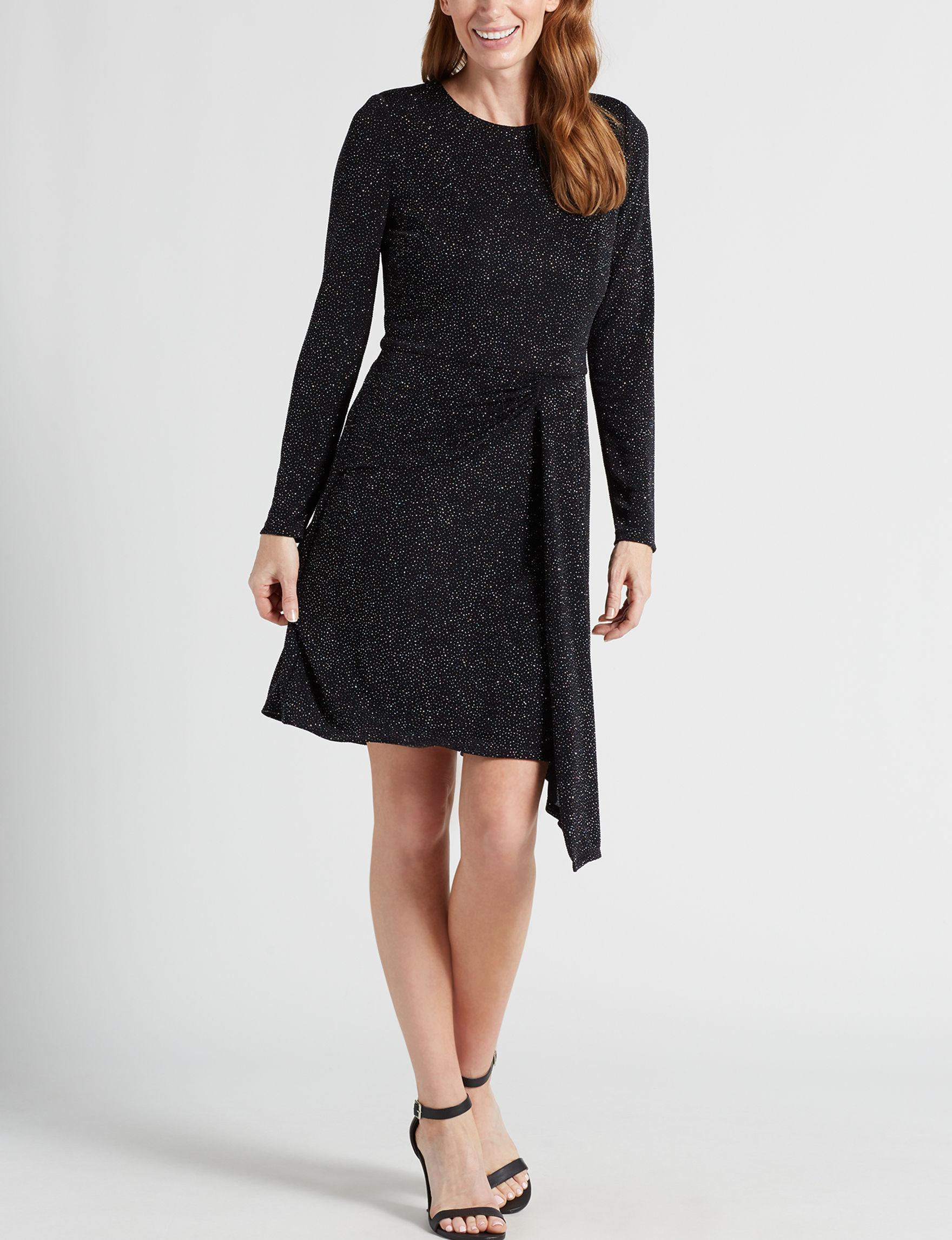 London Times Black Multi Evening & Formal A-line Dresses