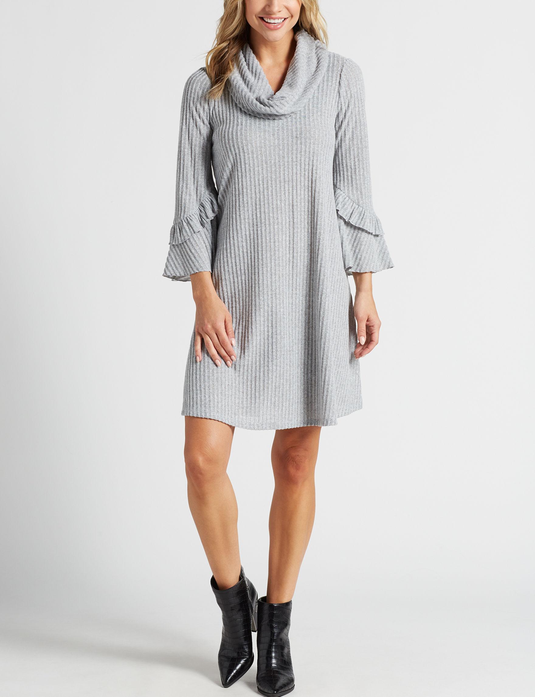 Robbie Bee Grey Everyday & Casual Sweater Dresses