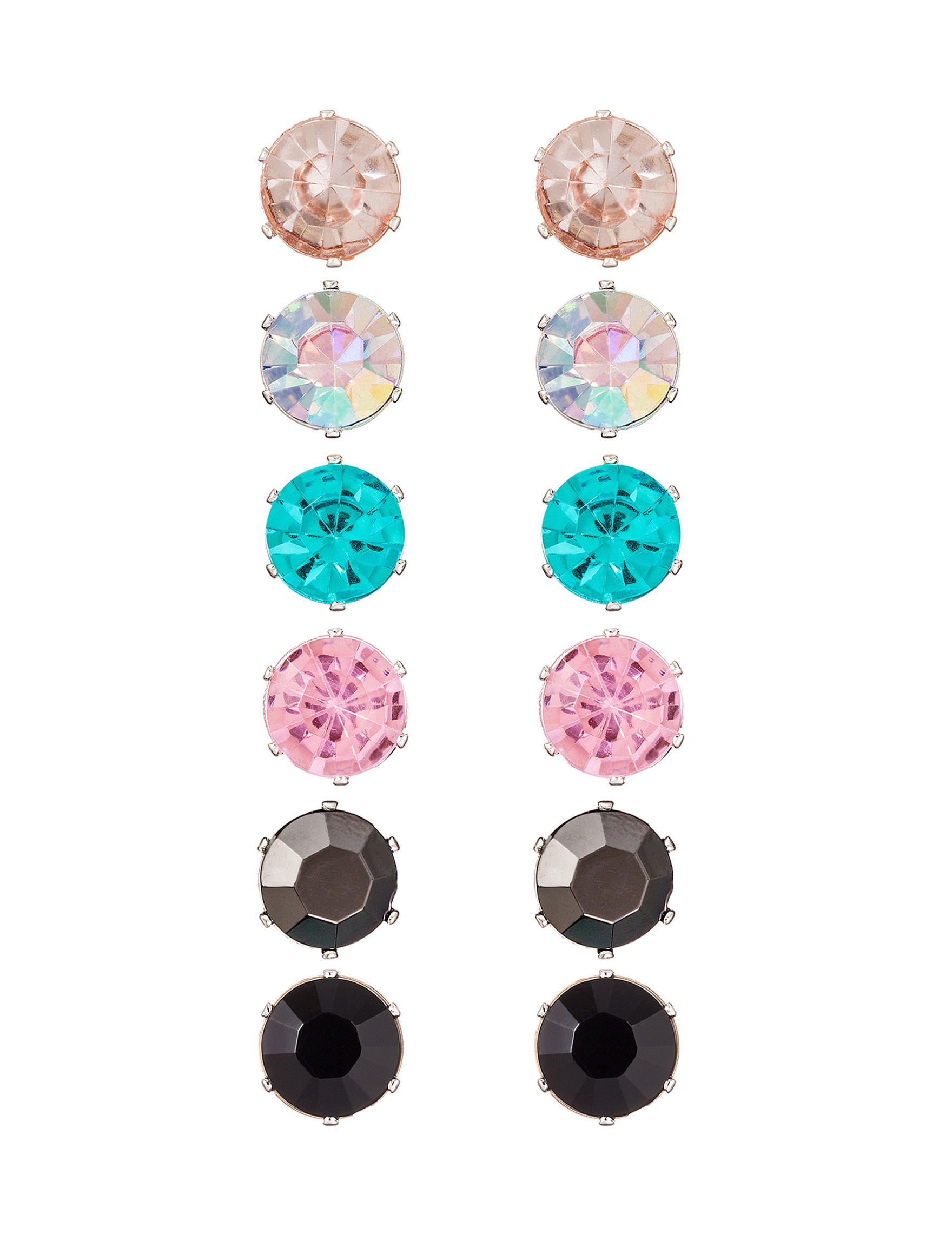 Hannah Orange Multi Studs Earrings Fashion Jewelry