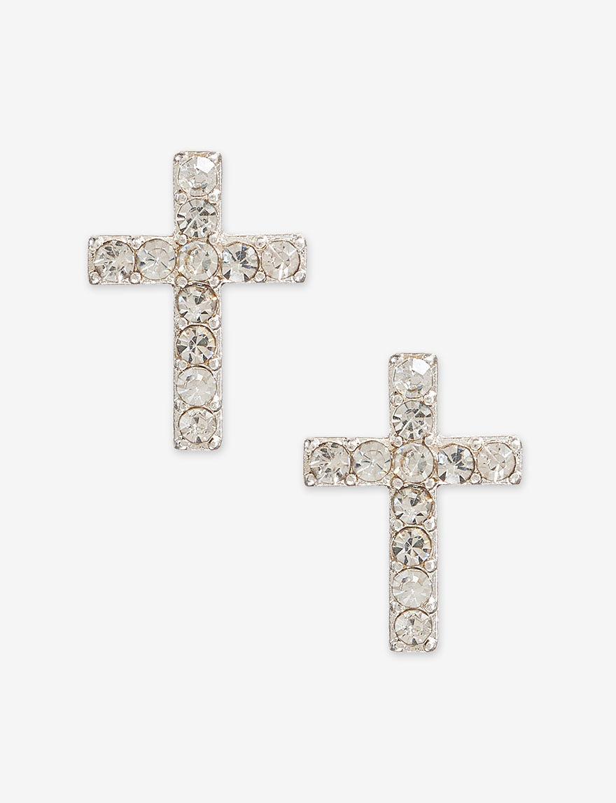 Hannah Silver / Crystal Studs Earrings Fashion Jewelry