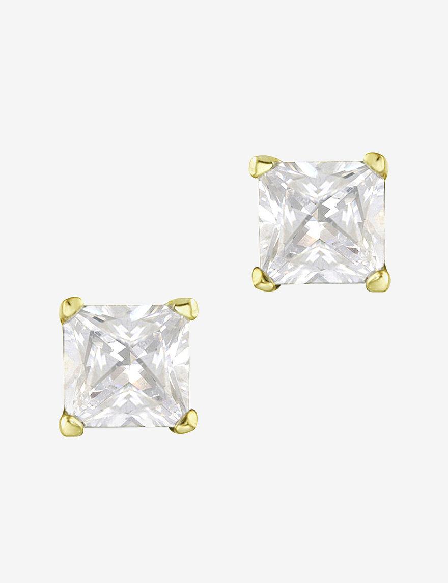 FMC Gold / Crystal Studs Earrings Fine Jewelry