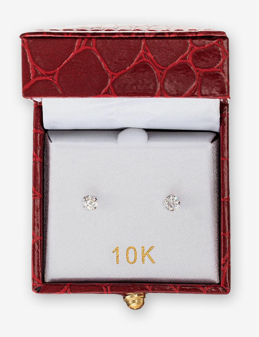 JTS Gold / Crystal Studs Earrings Fine Jewelry