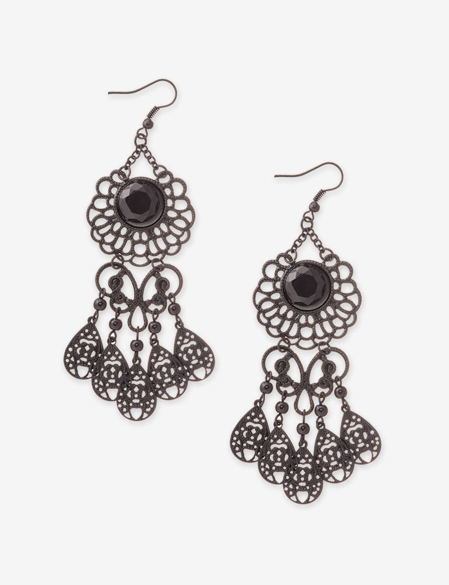 Hannah Black Drops Earrings Fashion Jewelry