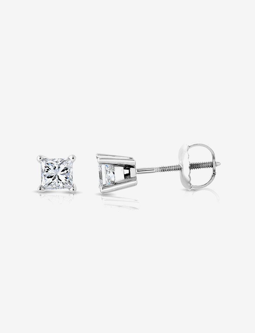 La4ve Diamonds White Studs Earrings Fine Jewelry