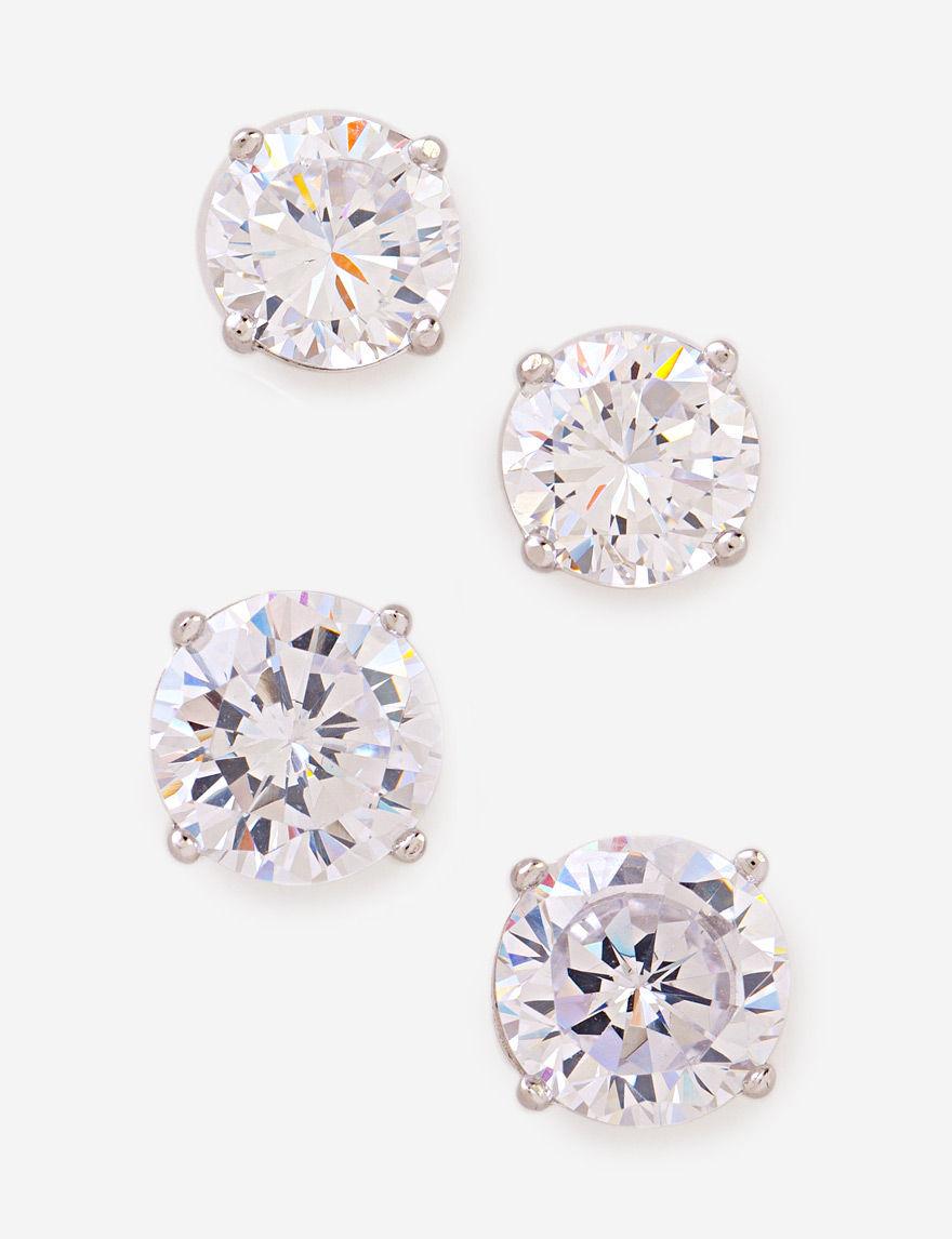 Kencraft Silver / Crystal Studs Earrings Fine Jewelry