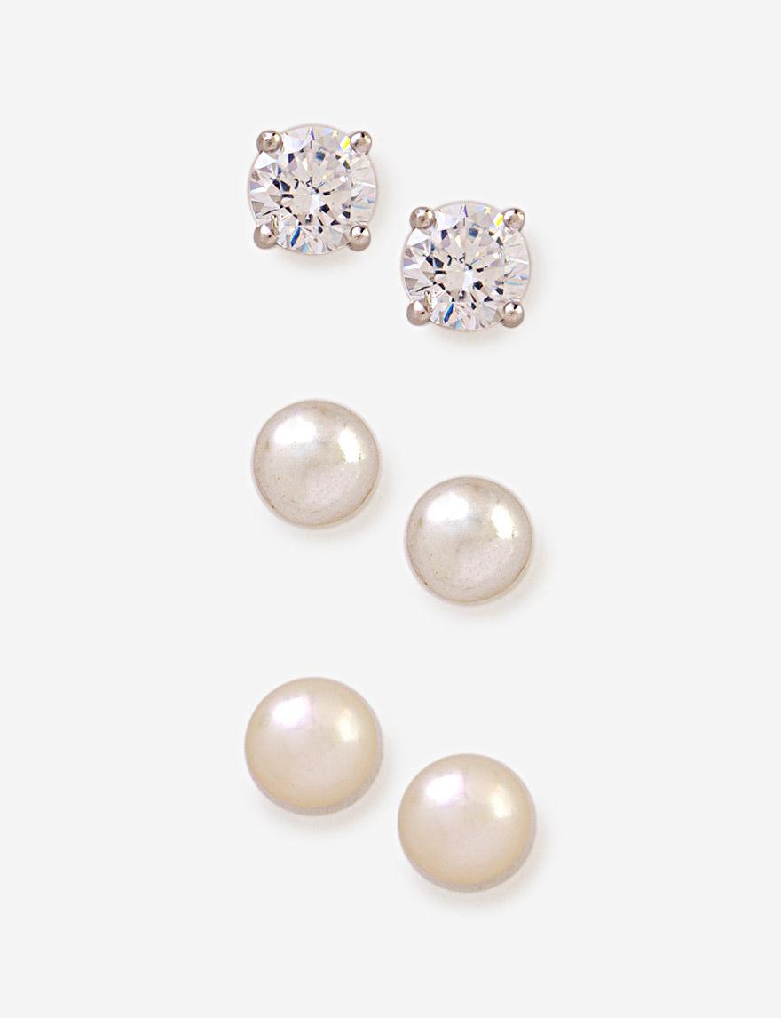 Kencraft Pearl / Crystal Studs Earrings Fine Jewelry