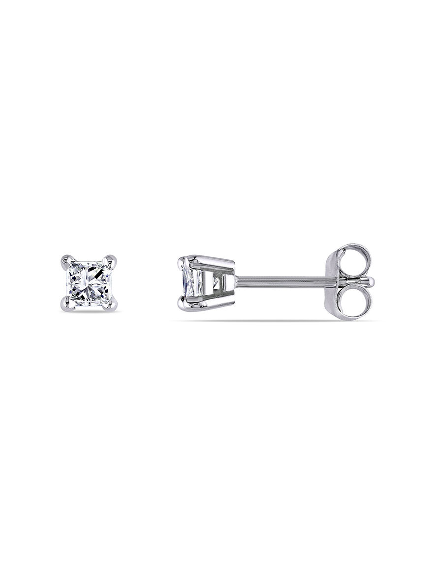 Amour Collection White Gold Studs Earrings Fine Jewelry