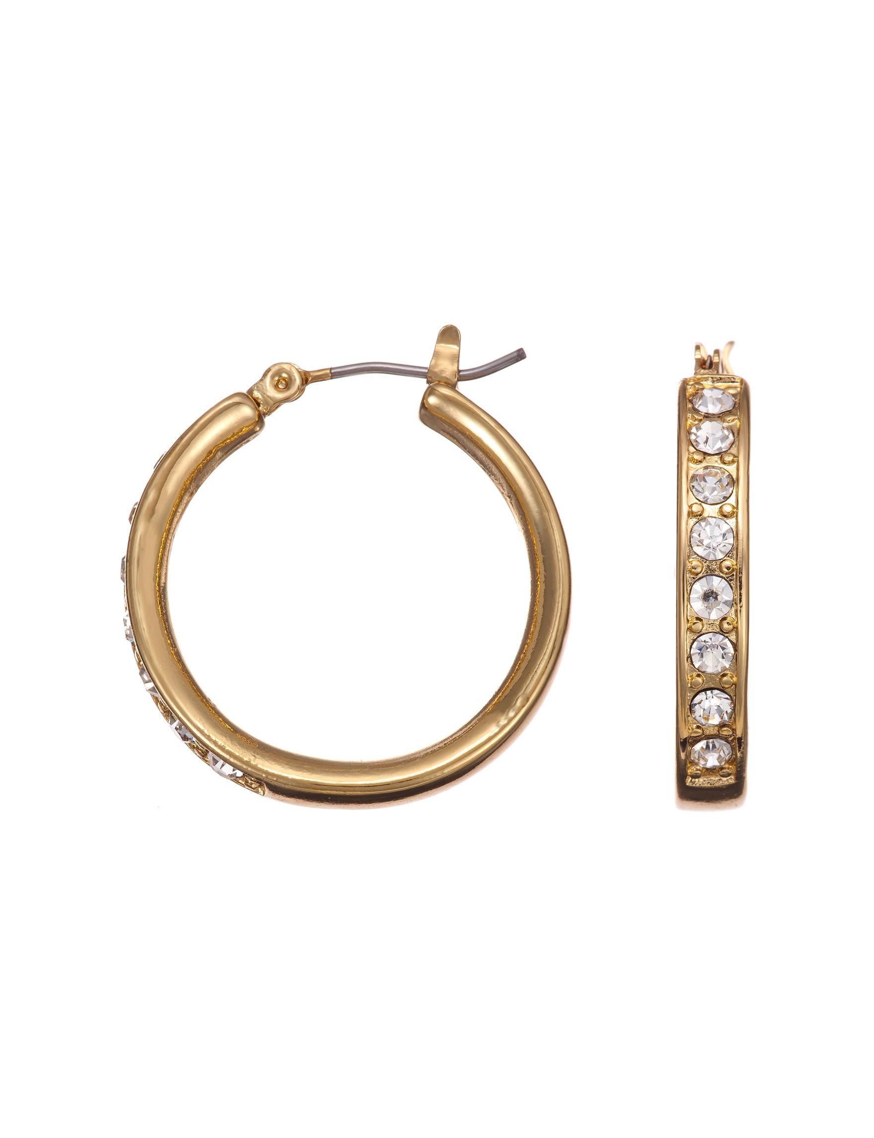 Via Roma Gold / Crystal Hoops Earrings Fashion Jewelry