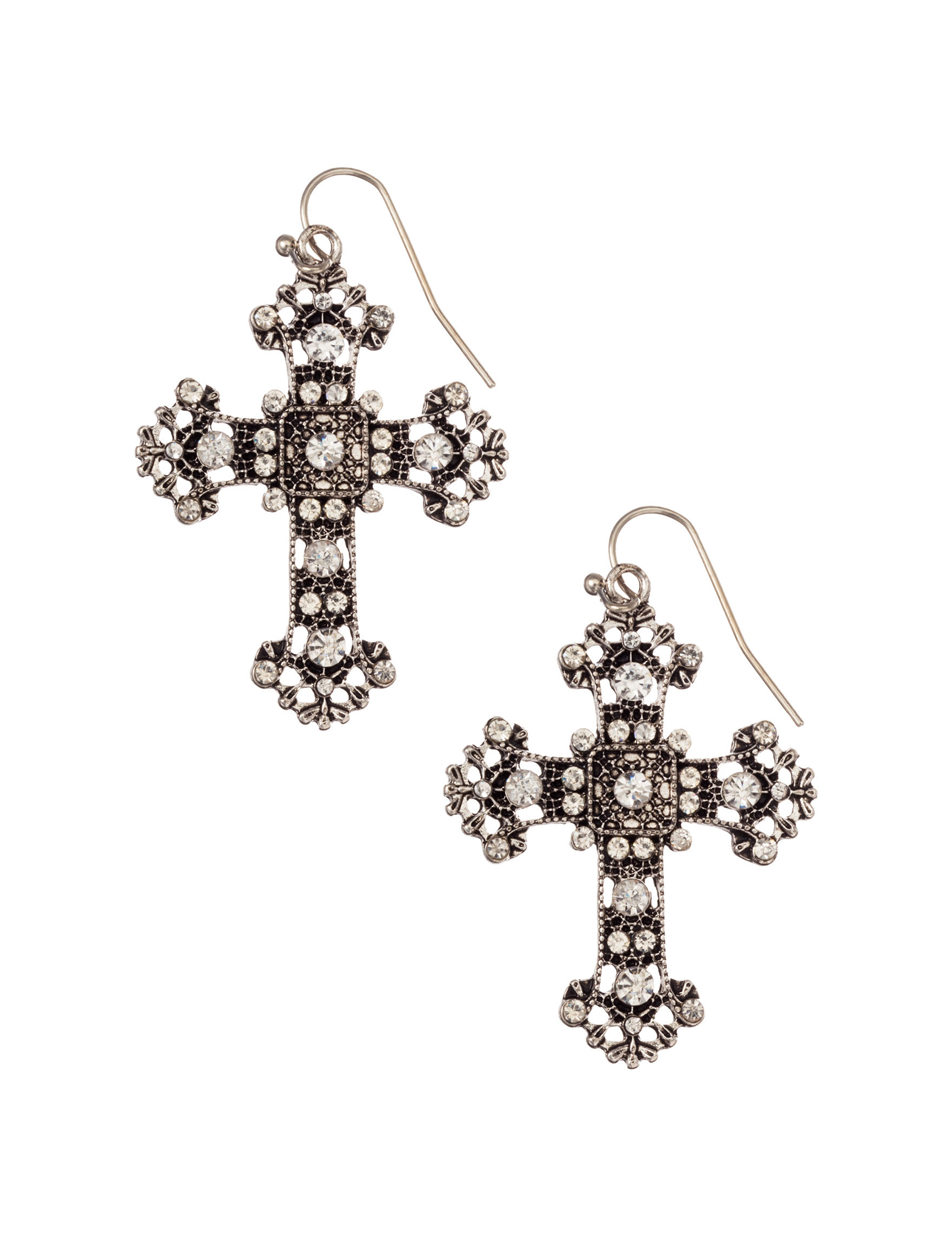 Hannah Antique Silver Drops Earrings Fashion Jewelry