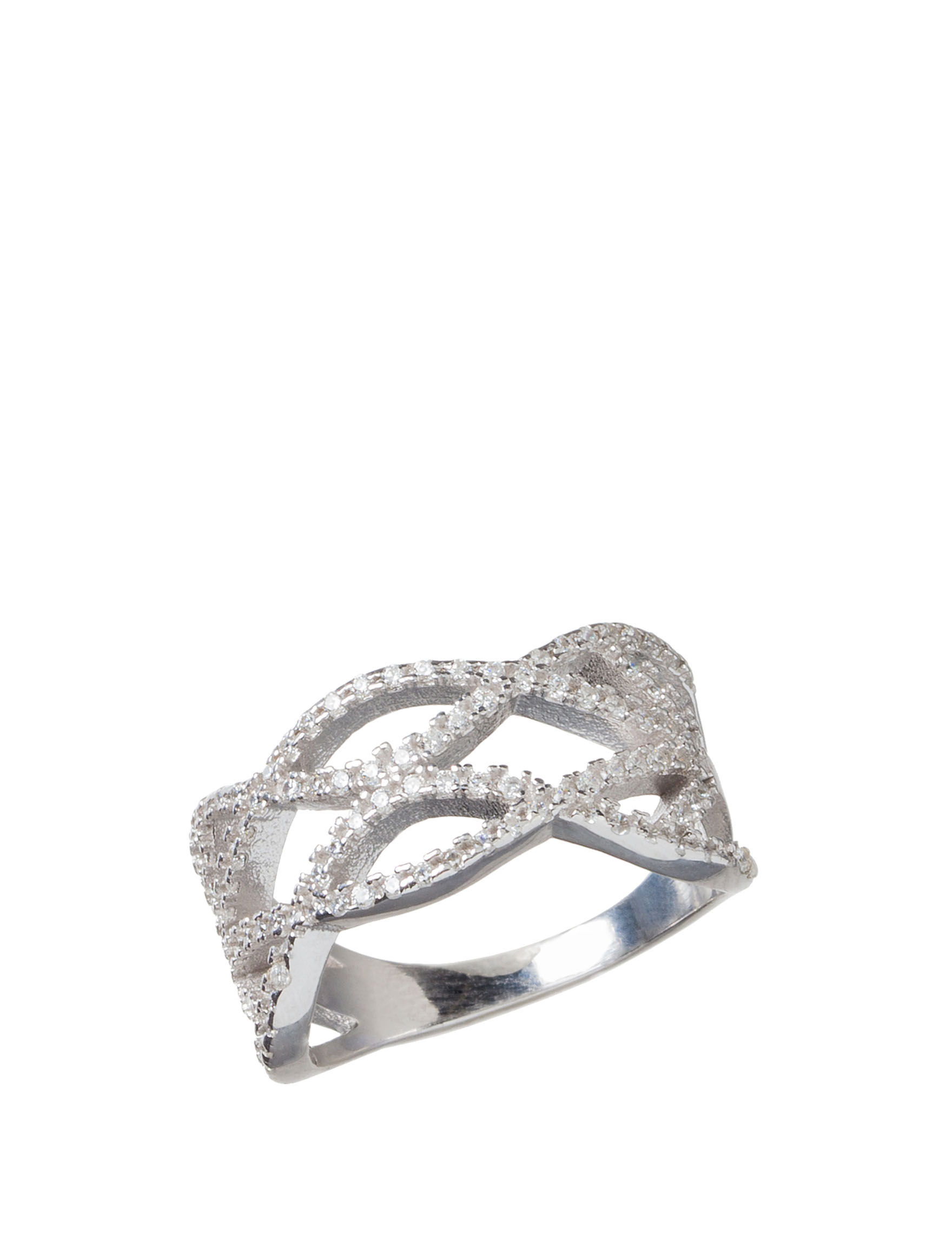 Kencraft Silver / Crystal Rings Fine Jewelry