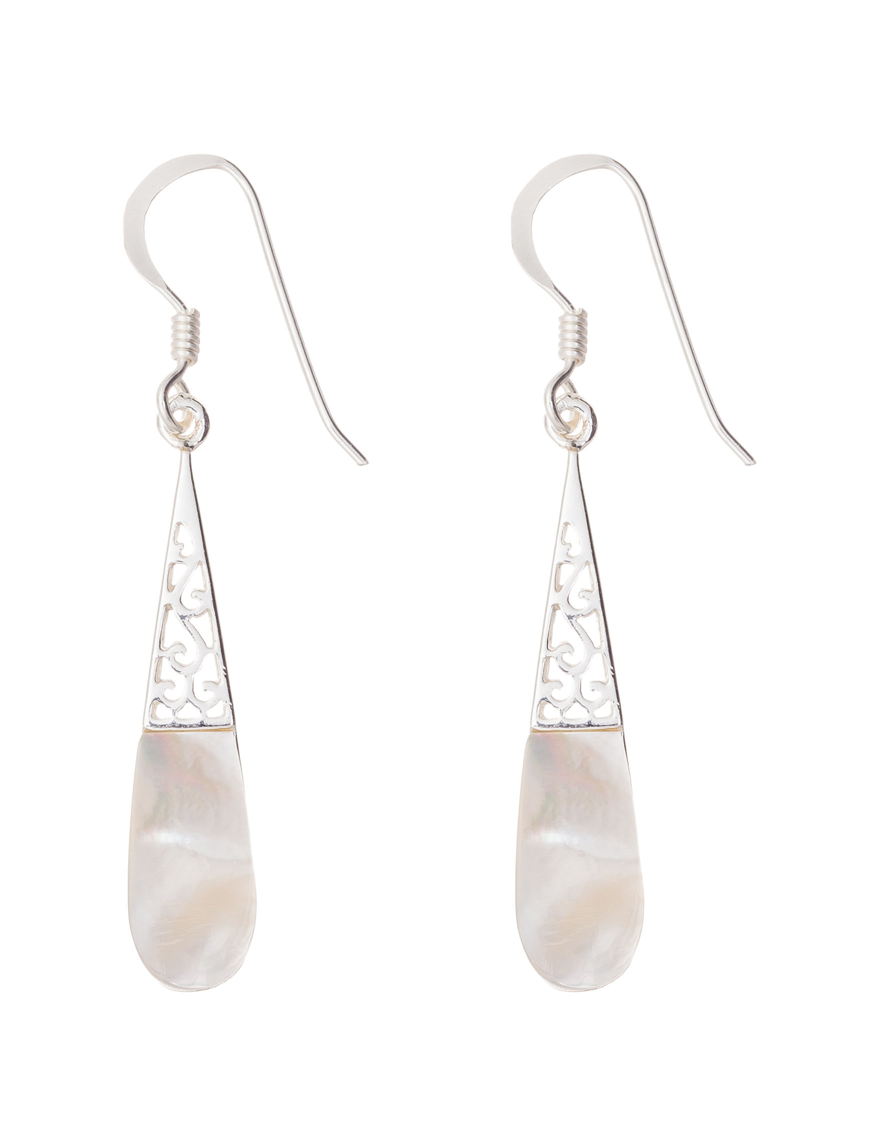 Marsala Silver / White Drops Earrings Fine Jewelry