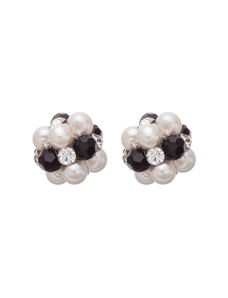 Hannah White / Black Studs Earrings Fashion Jewelry