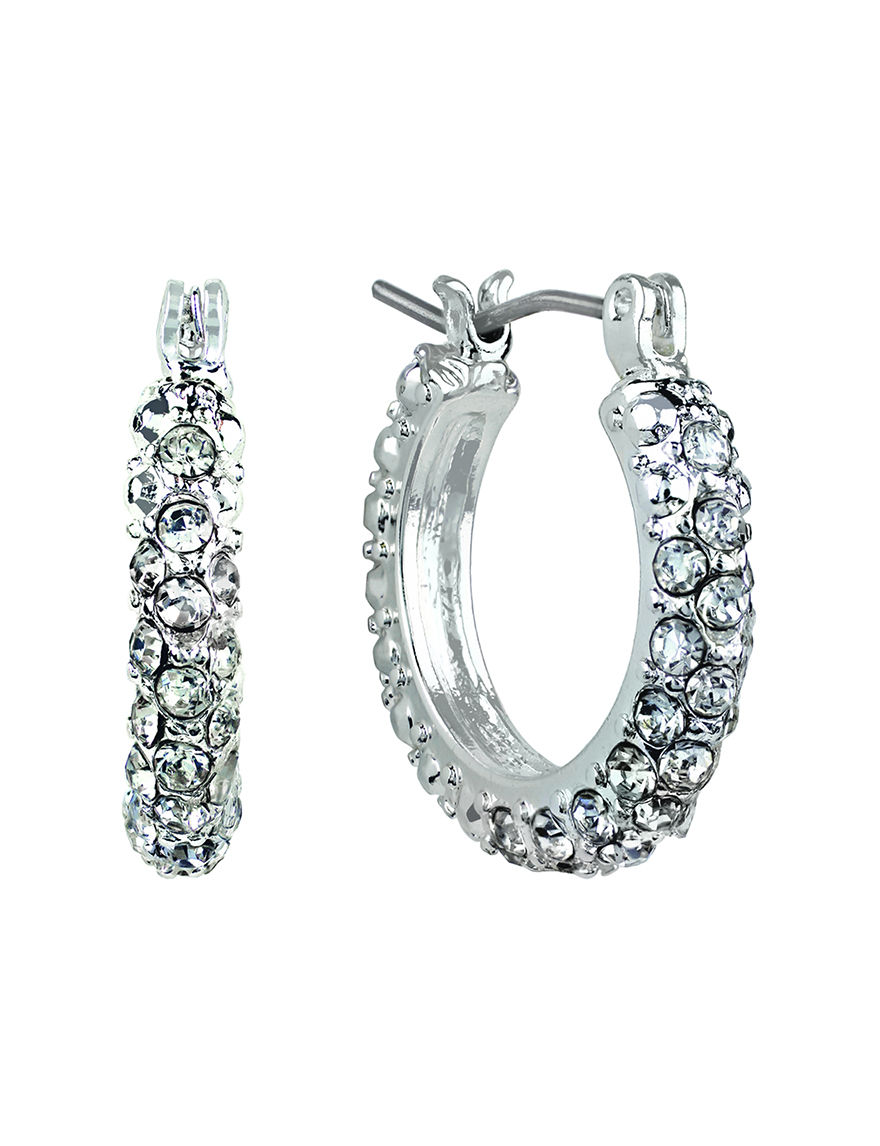 Roman White / Silver Hoops Earrings Fashion Jewelry