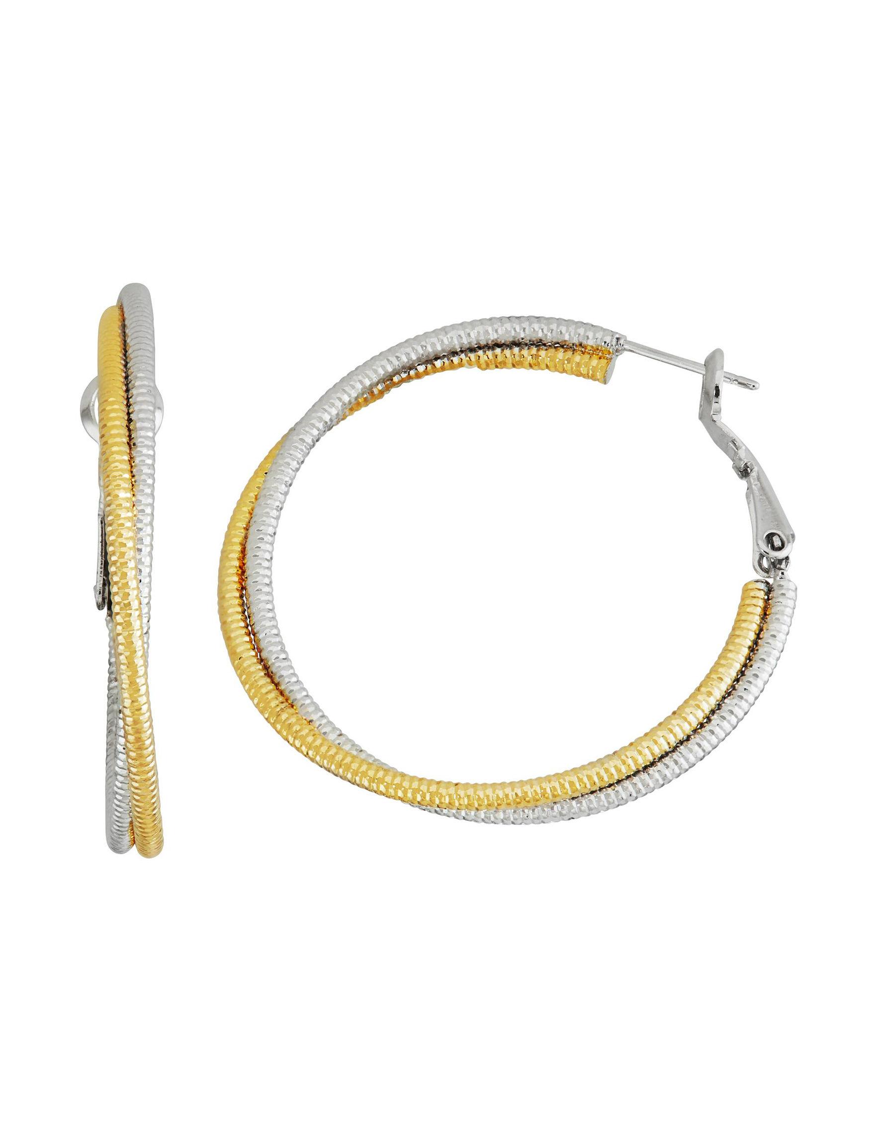 5th & Luxe White / Silver Hoops Earrings Fine Jewelry