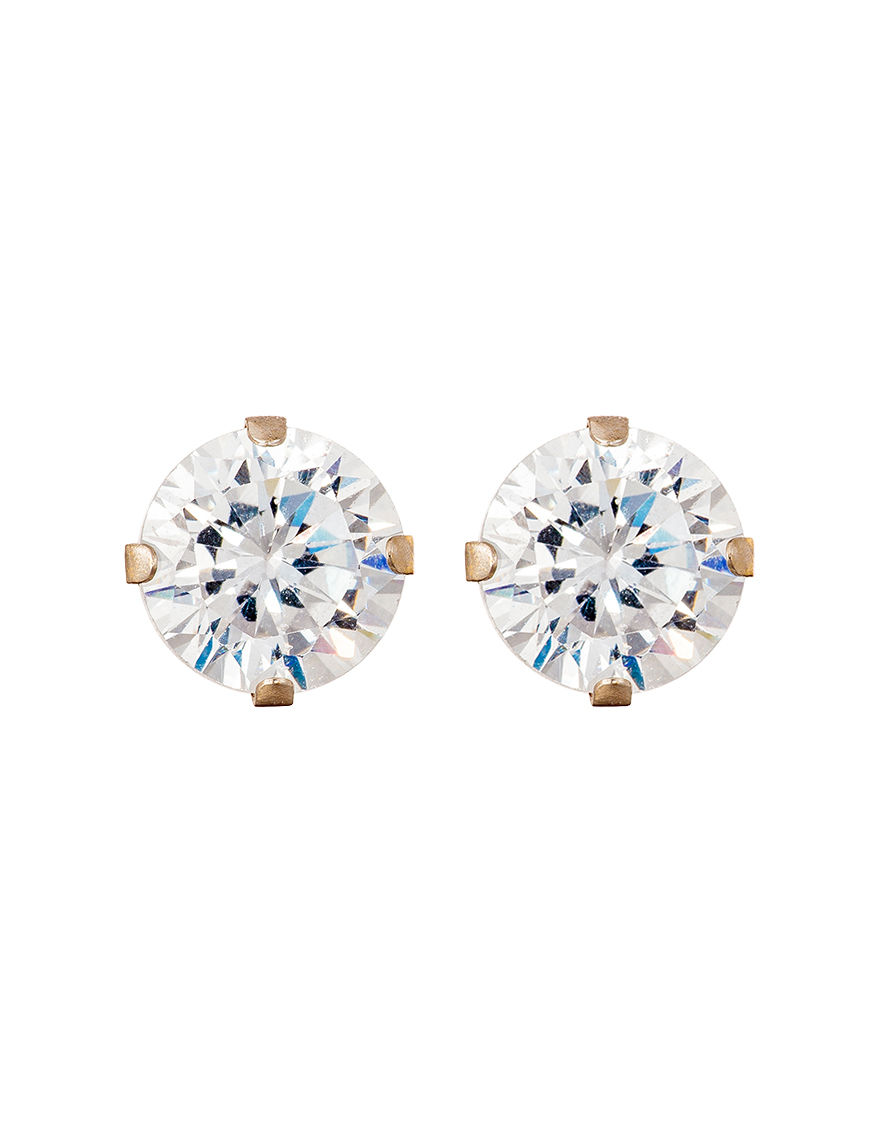 JTS Gold / Crystal Studs Earrings Fine Jewelry