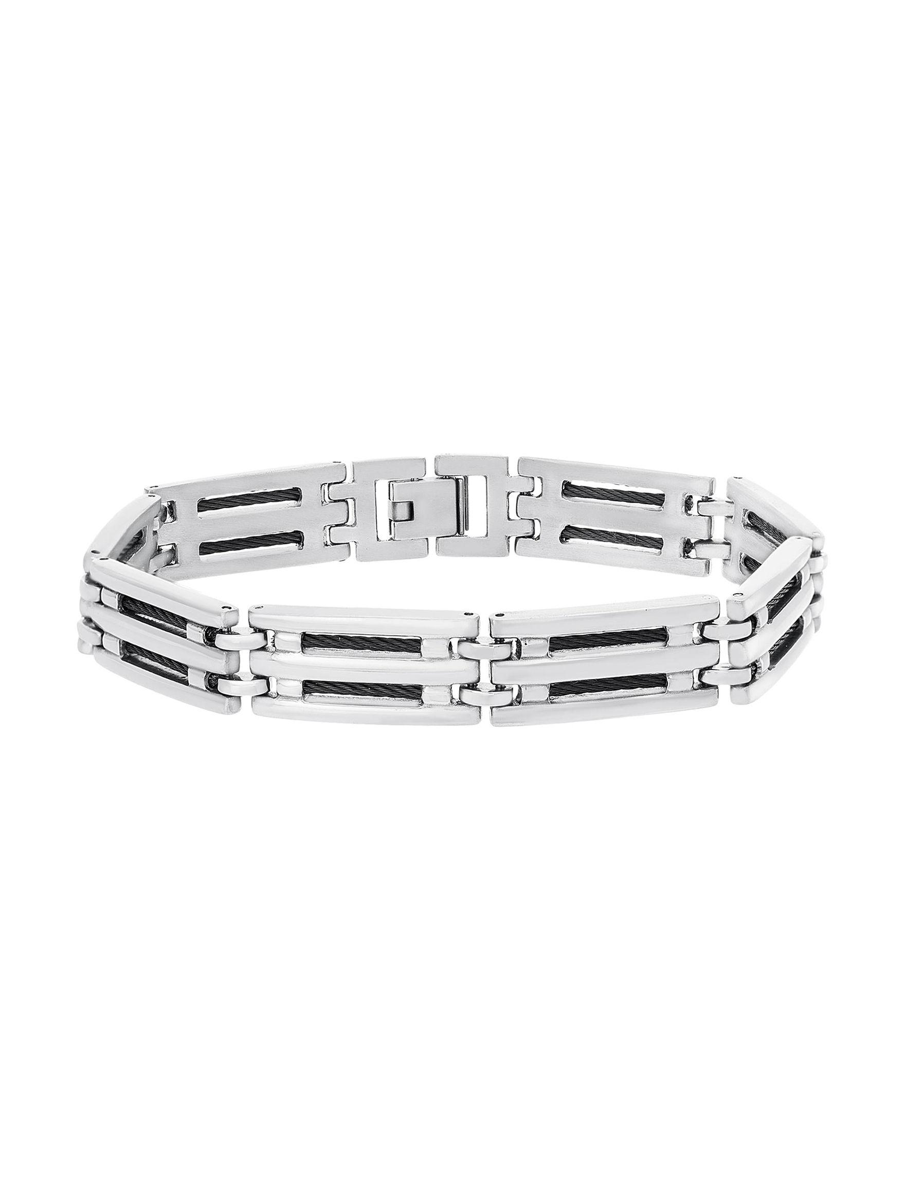 NES Steel/ Black Bracelets Fine Jewelry