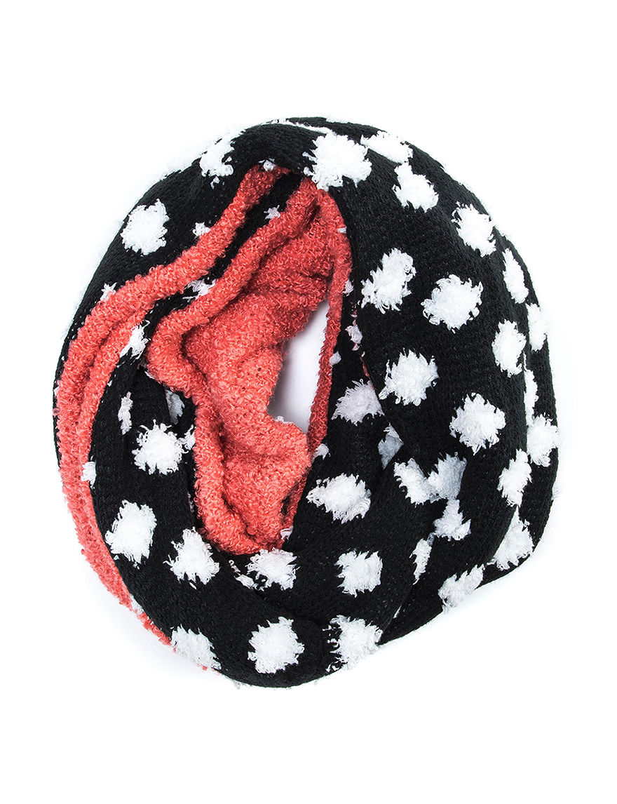 Muk Luks Black / Coral Scarves & Wraps