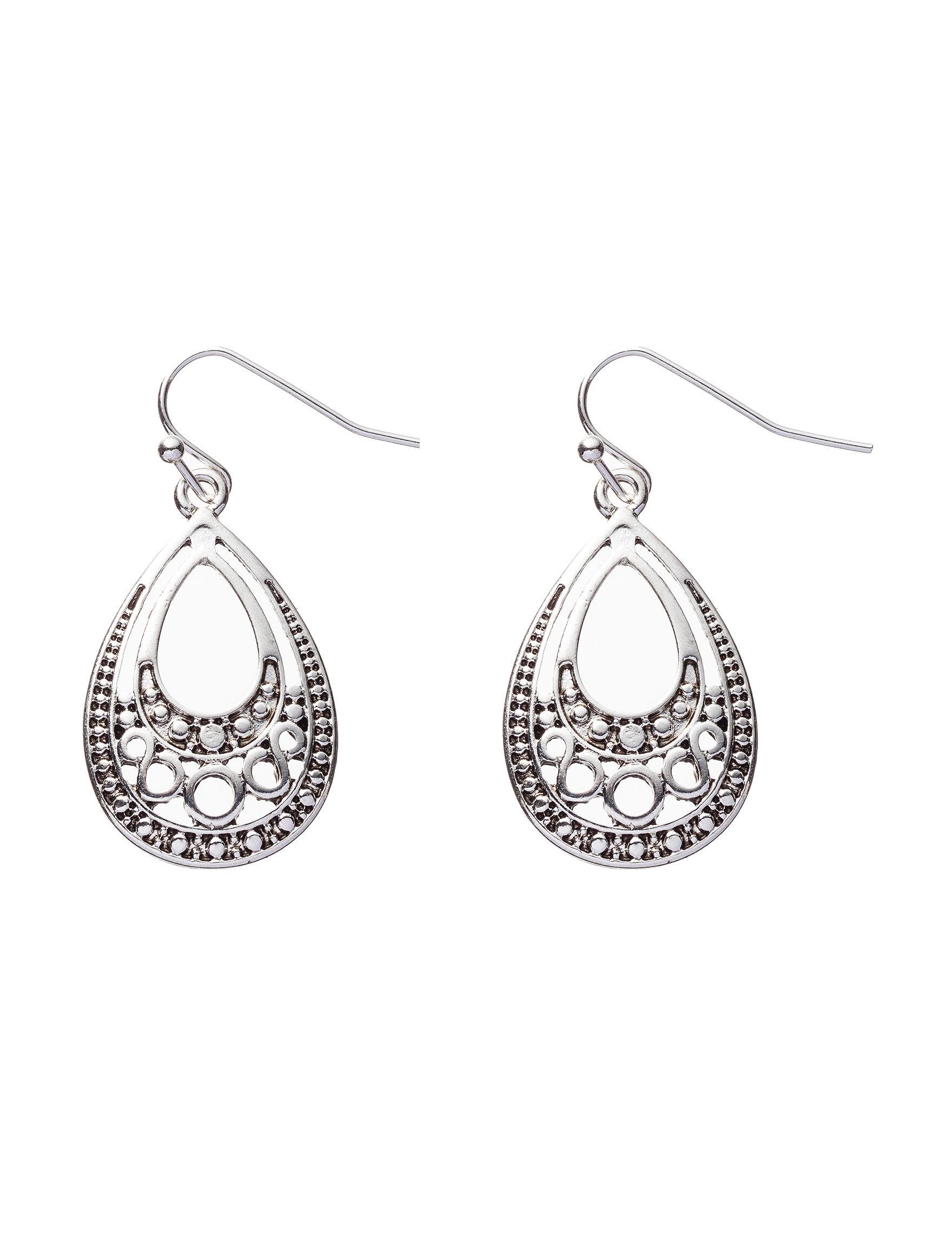 Hannah Antique Silver Hoops Earrings Fashion Jewelry