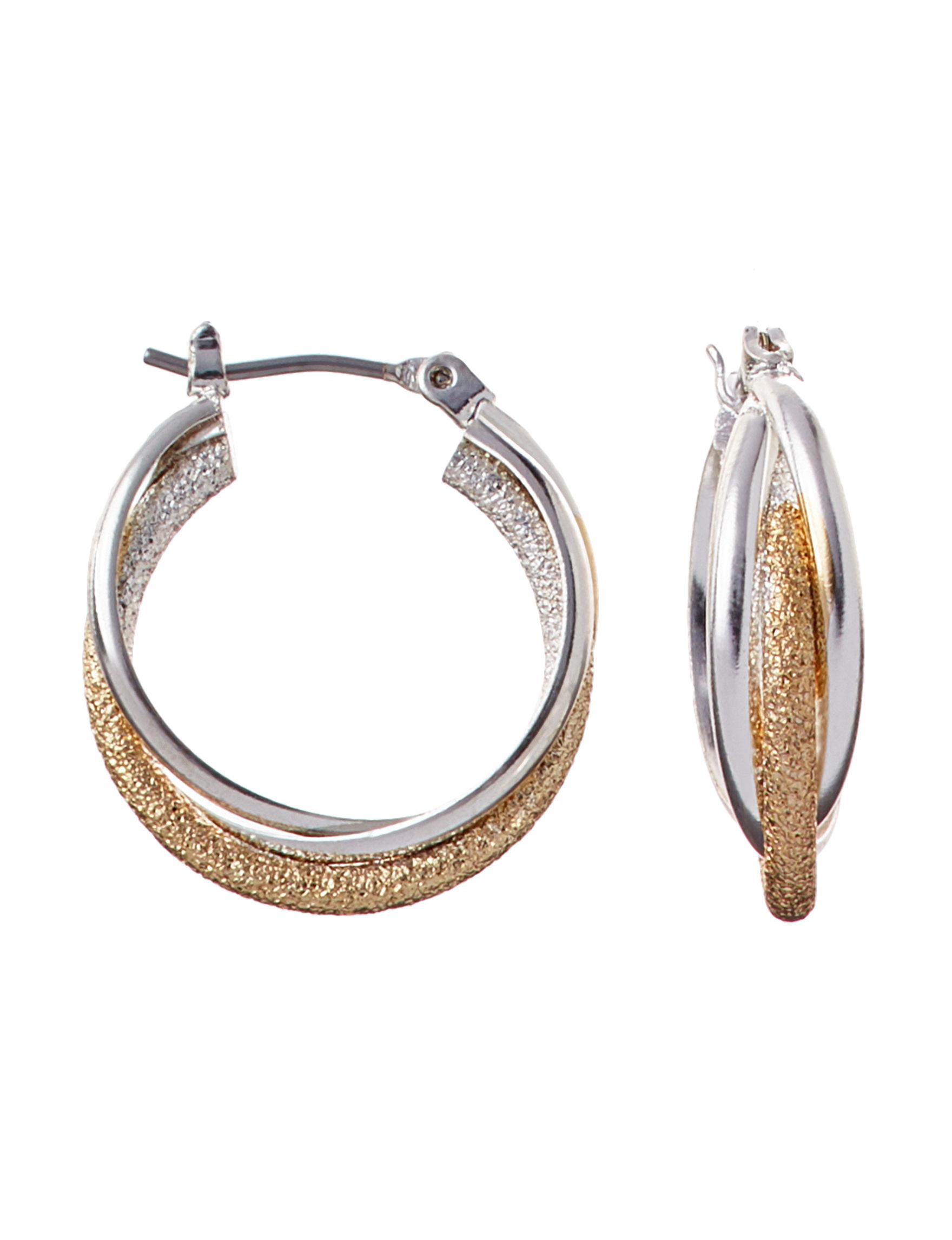 Hannah Two Tone Hoops Earrings Fashion Jewelry