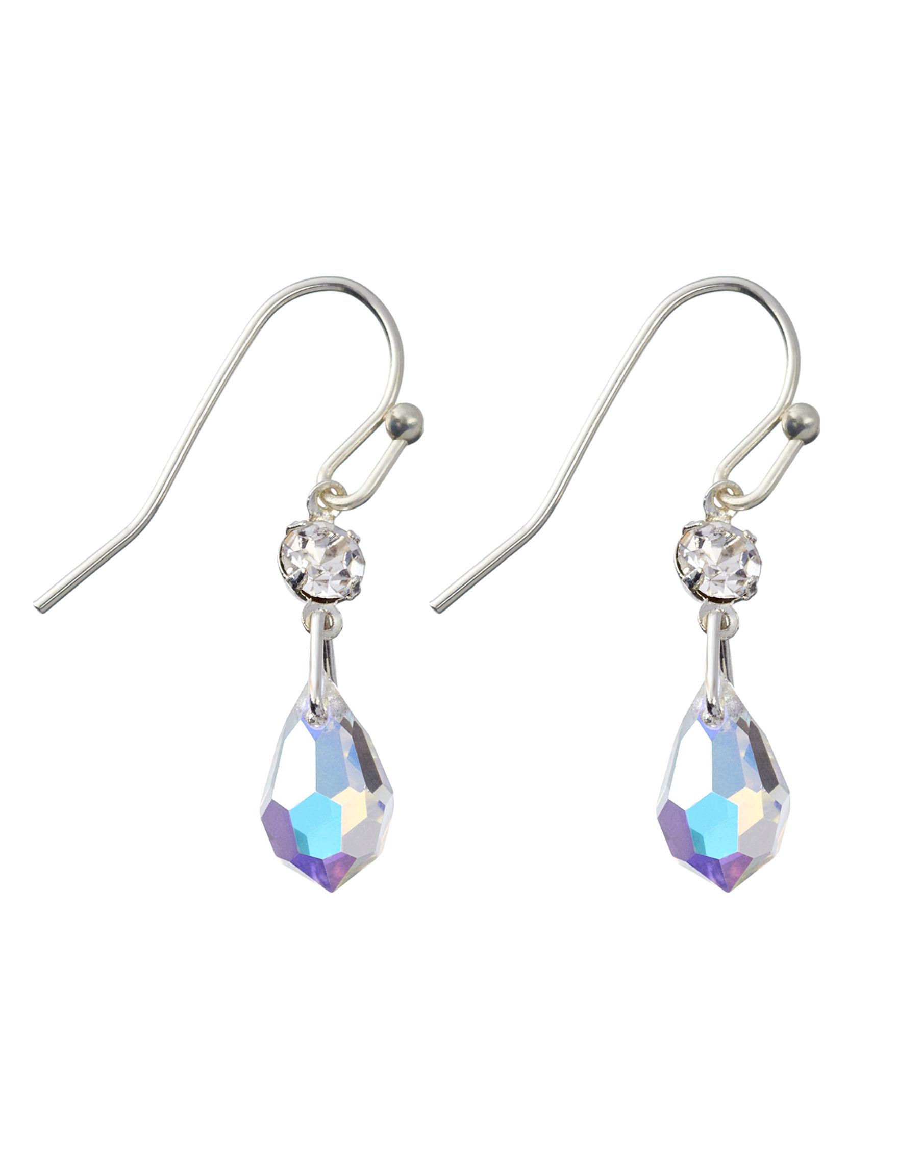 Via Roma Silver / Crystal Drops Earrings Fashion Jewelry