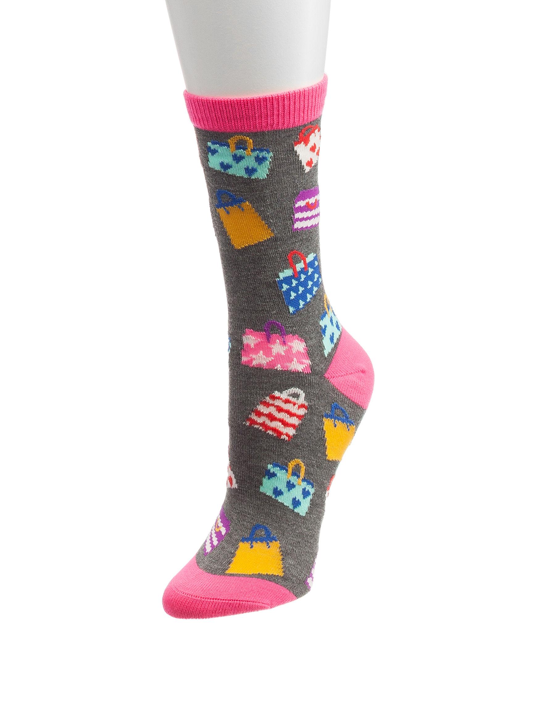 Novelty Grey / Pink Socks