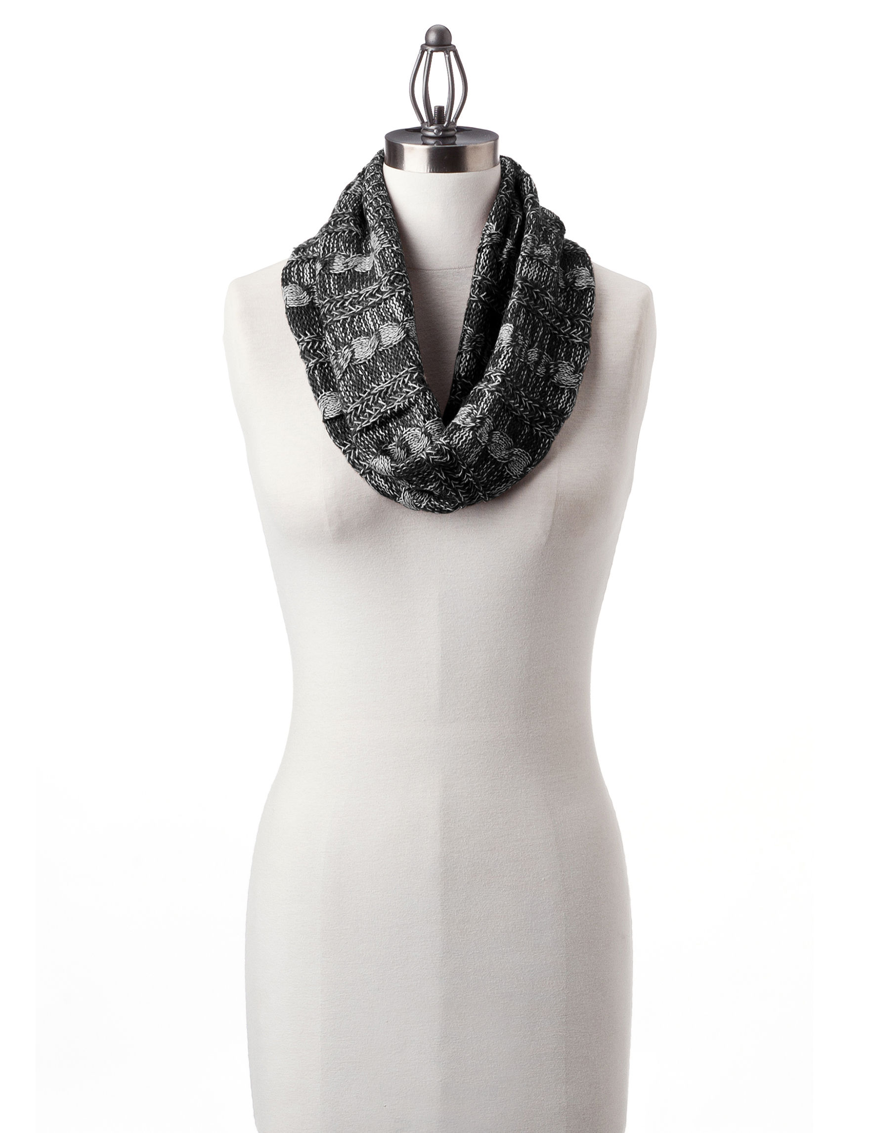 David & Young Black Scarves & Wraps Infinity & Loops