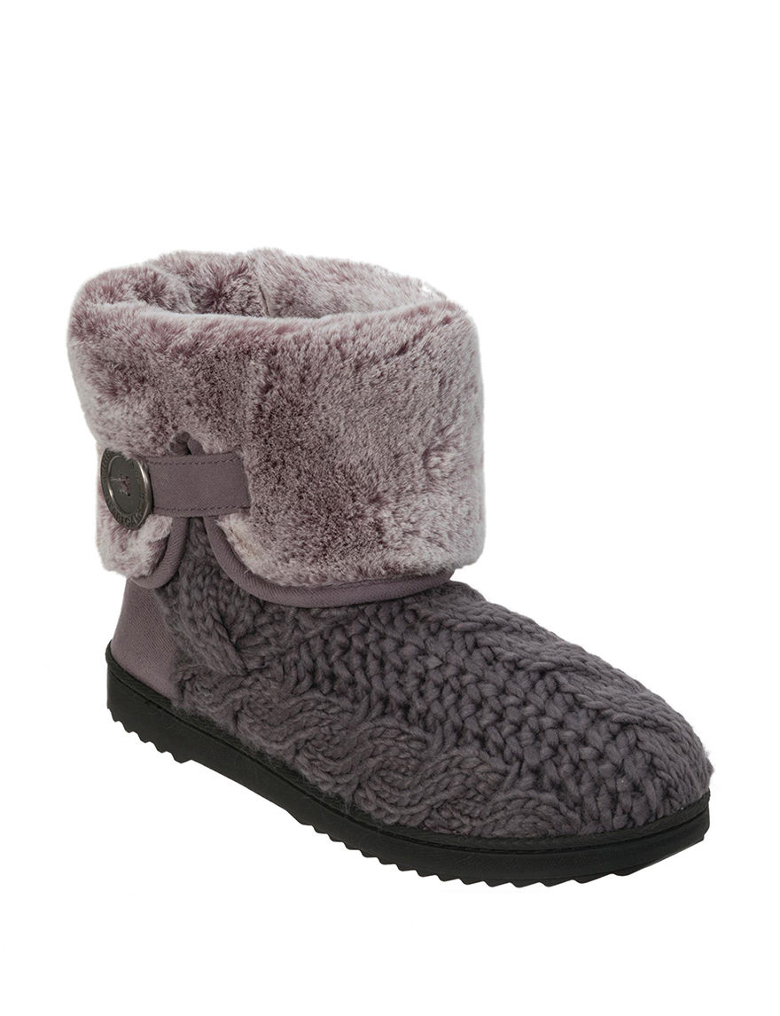 Dearfoams Grey Slipper Boots & Booties