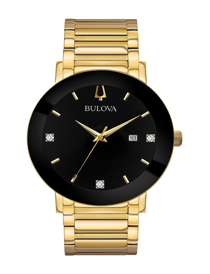 Bulova Gold / Black Fashion Watches
