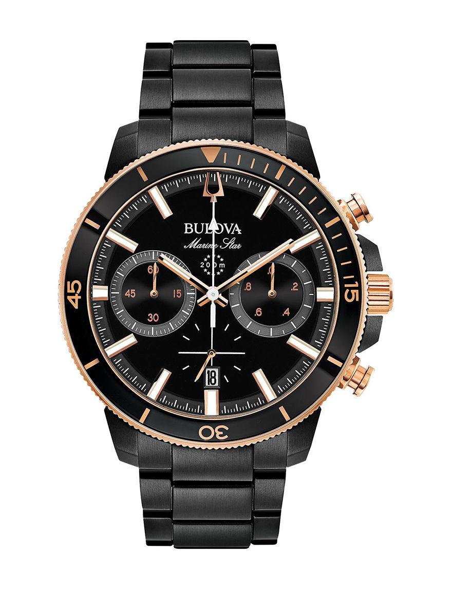 Bulova Black / Rose Gold Fashion Watches